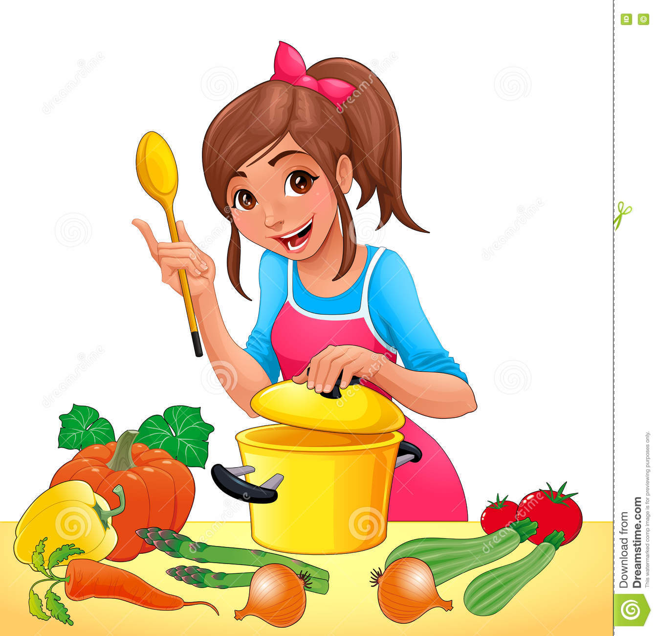 Cooking Kitchen Clip Art: Girl With Is Cooking With Several Vegetables Stock Vector