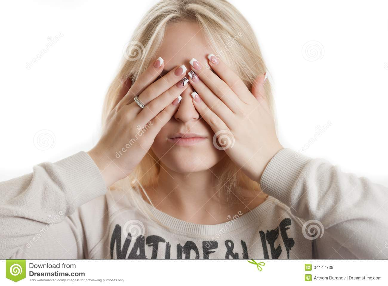covering face with hands girl covering her face by her hands stock image image 8152
