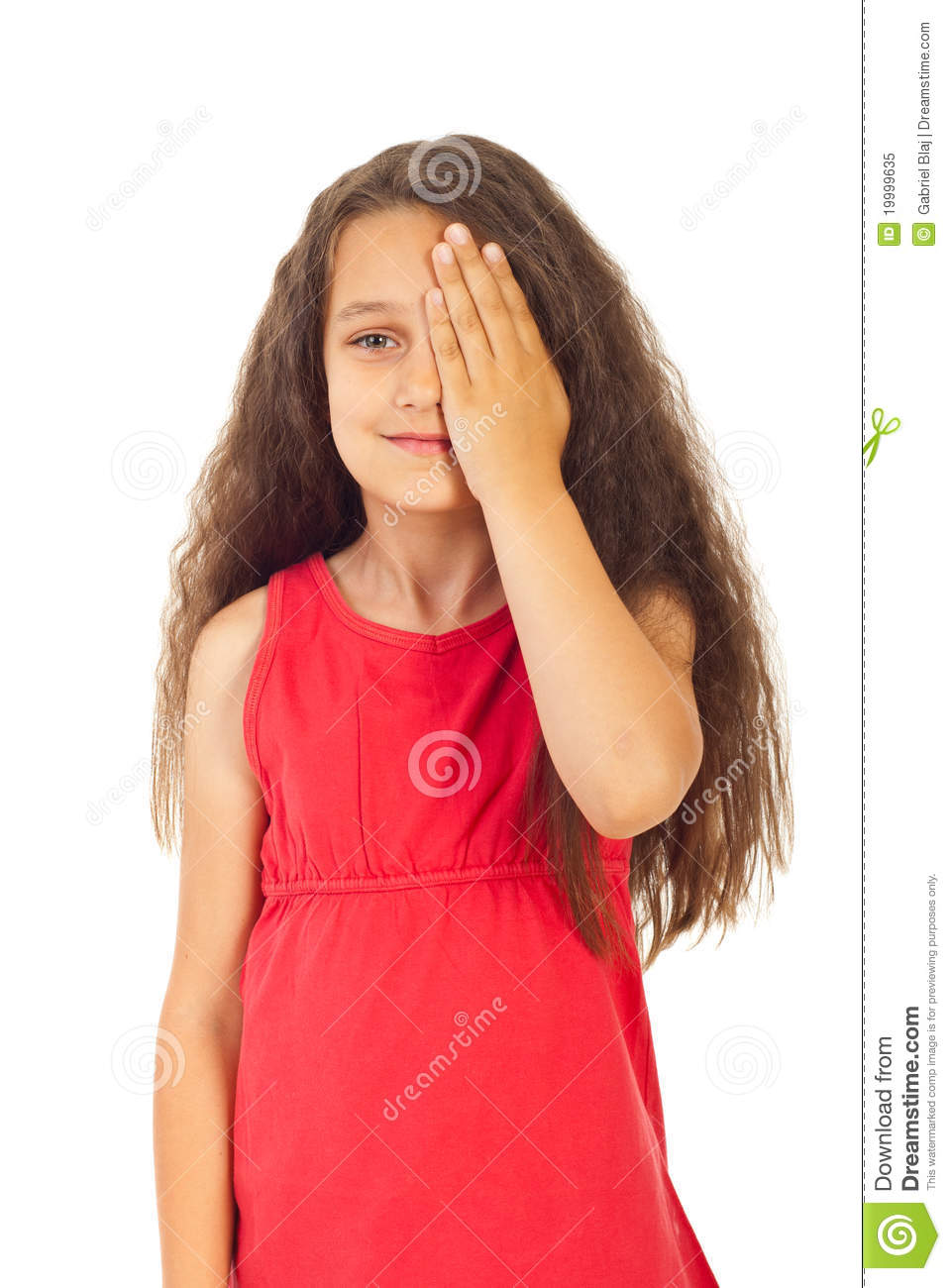 Girl Covering One Eye Royalty Free Stock Photo Image