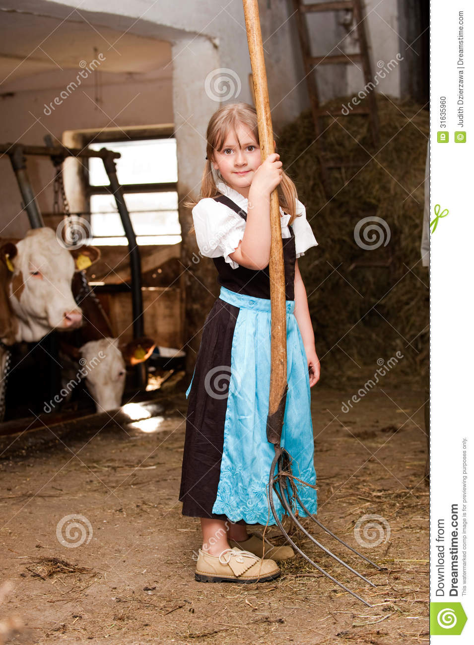 Girl In A Cow Stable Stock Photo  Image Of Happy  Smile