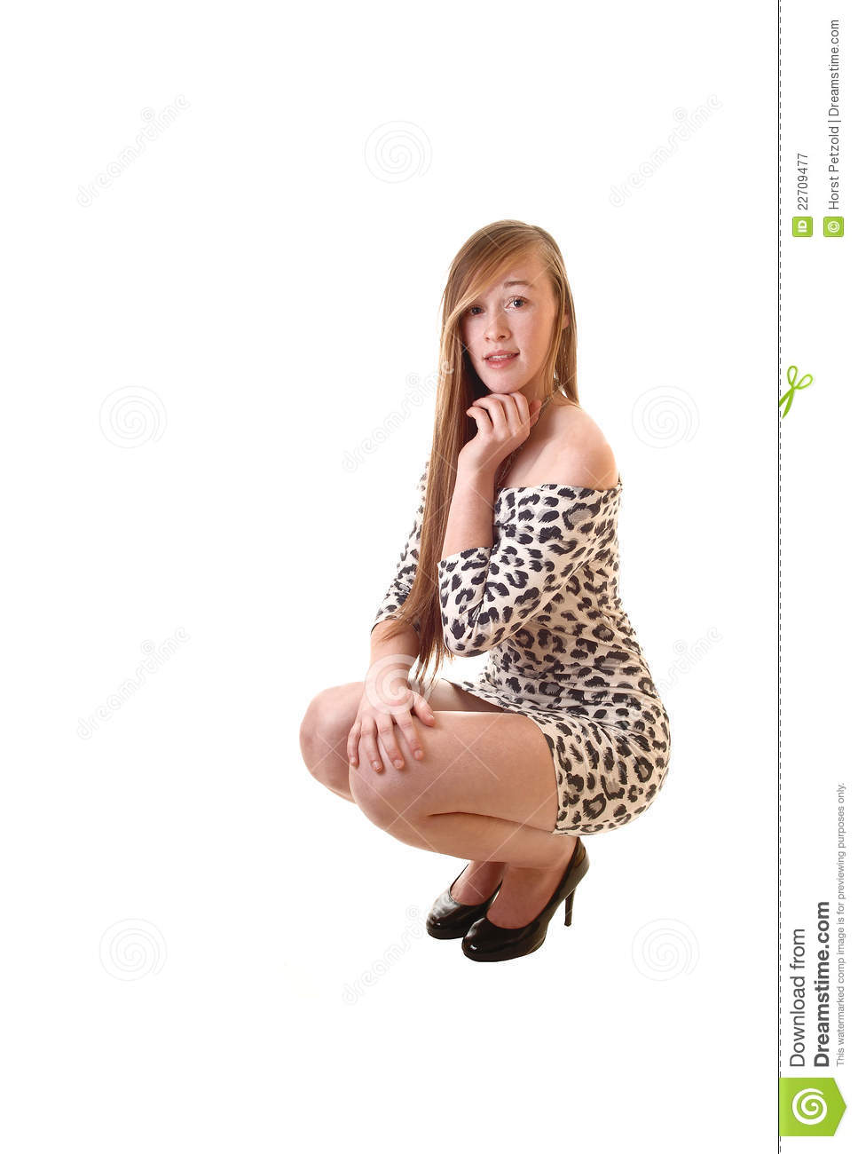 Young woman crouching stock photo. Image of girl, full