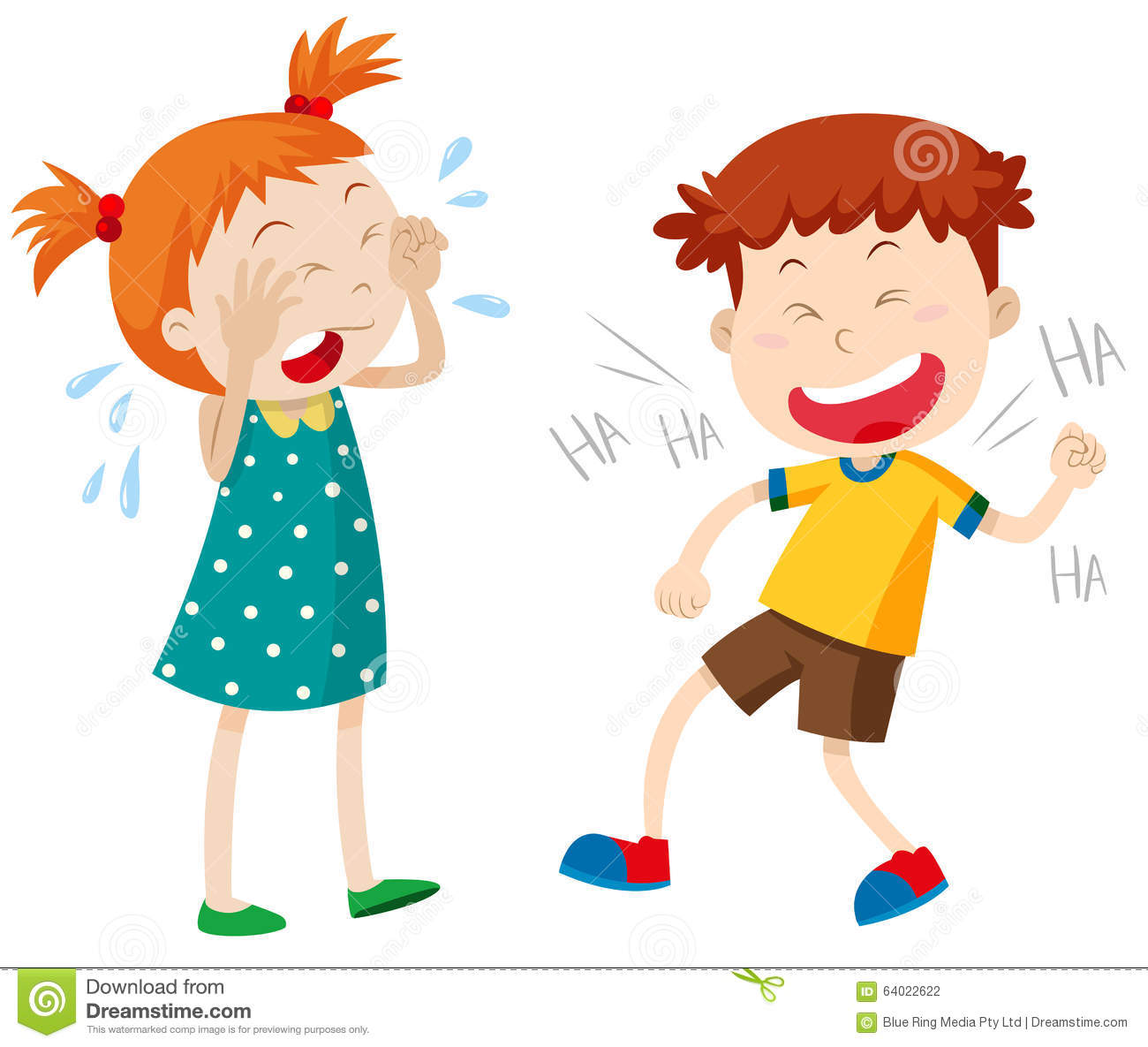 girl crying and boy laughing stock vector illustration