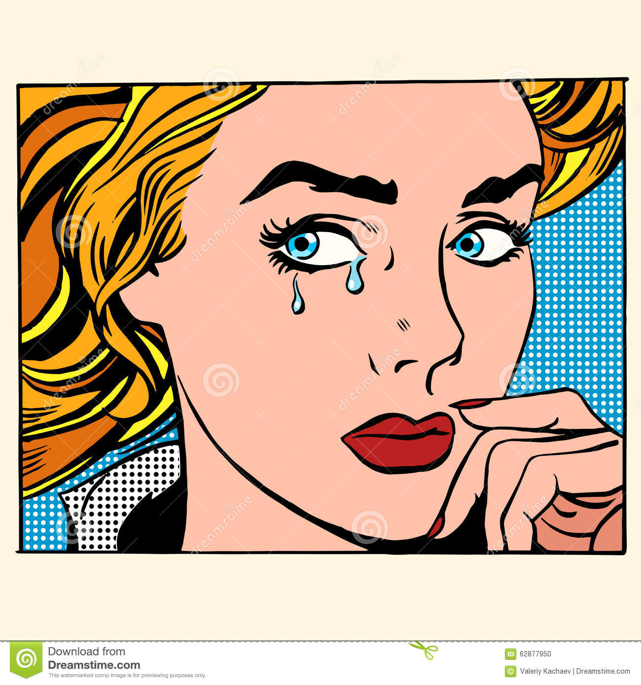 Girl Crying Woman Face Stock Vector. Illustration Of