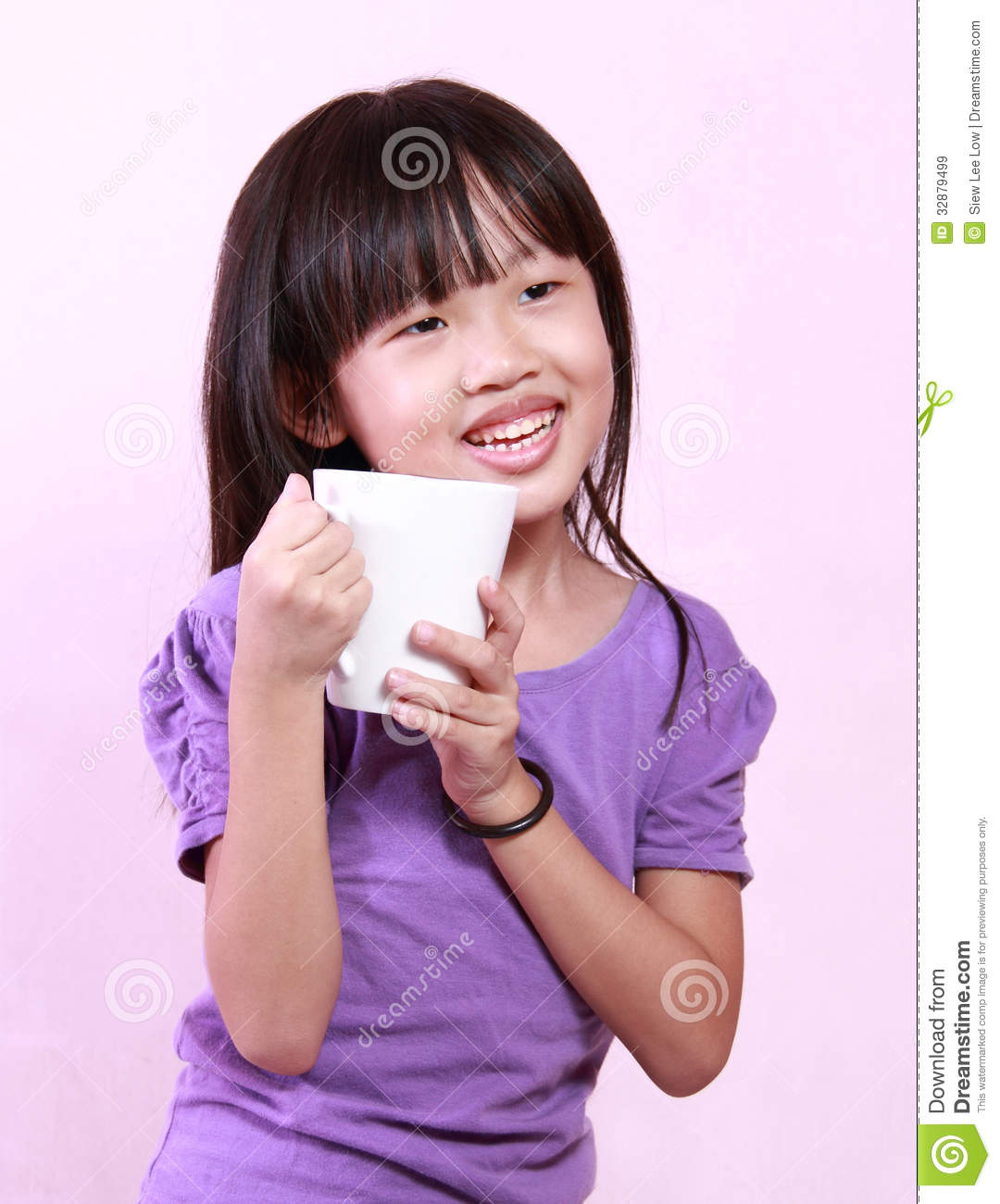 Girl and cup stock image. Image of child, chinese, holding