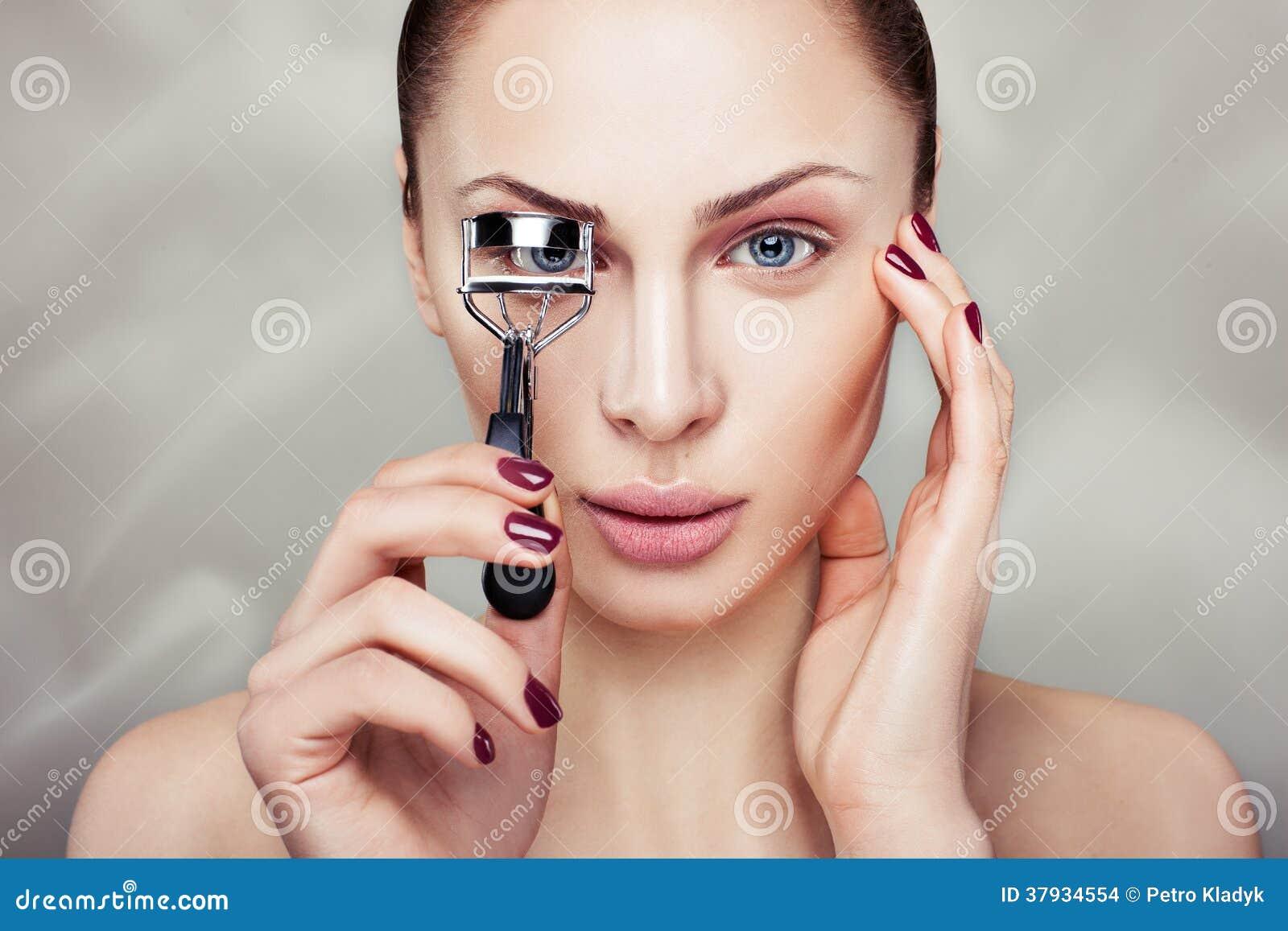 Girl With Curling Eyelashes Stock Photo Image Of Caucasian