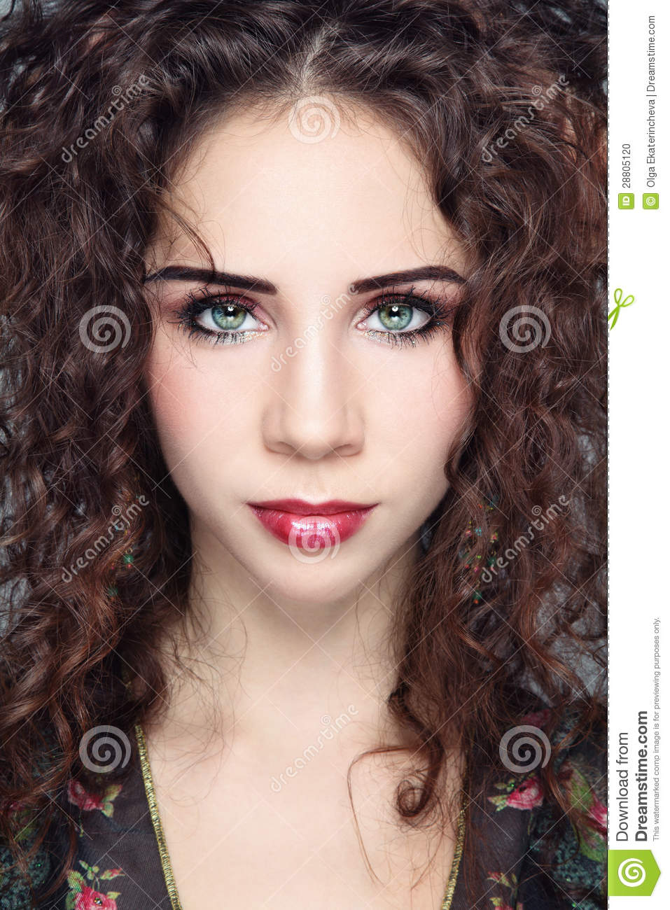 Girl With Curly Hair Stock Photo Image Of Make Model 28805120