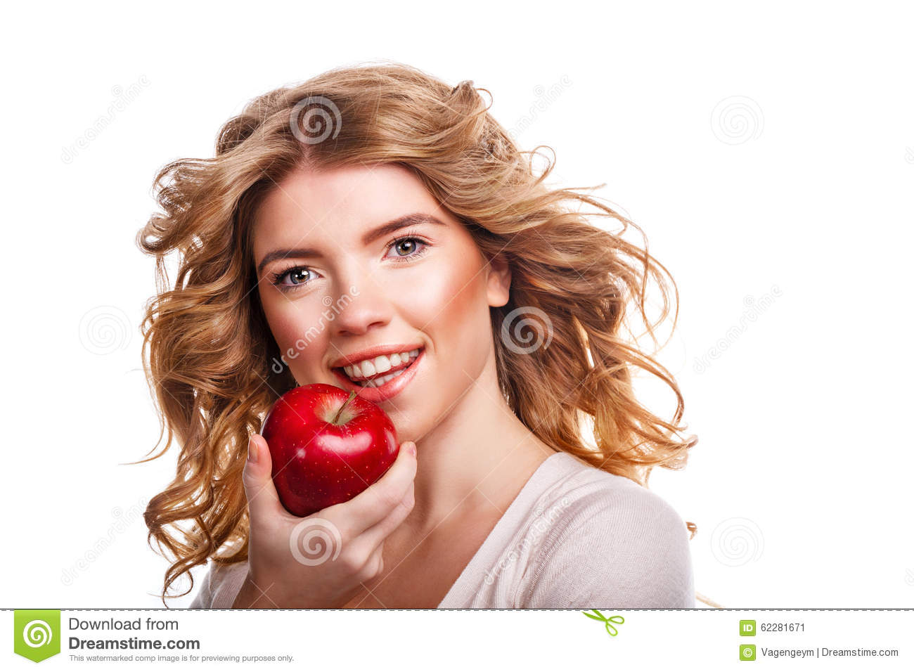Girl With Curly Hair Holding A Red Apple And Smiling. Stock Image - Image of beautiful ...