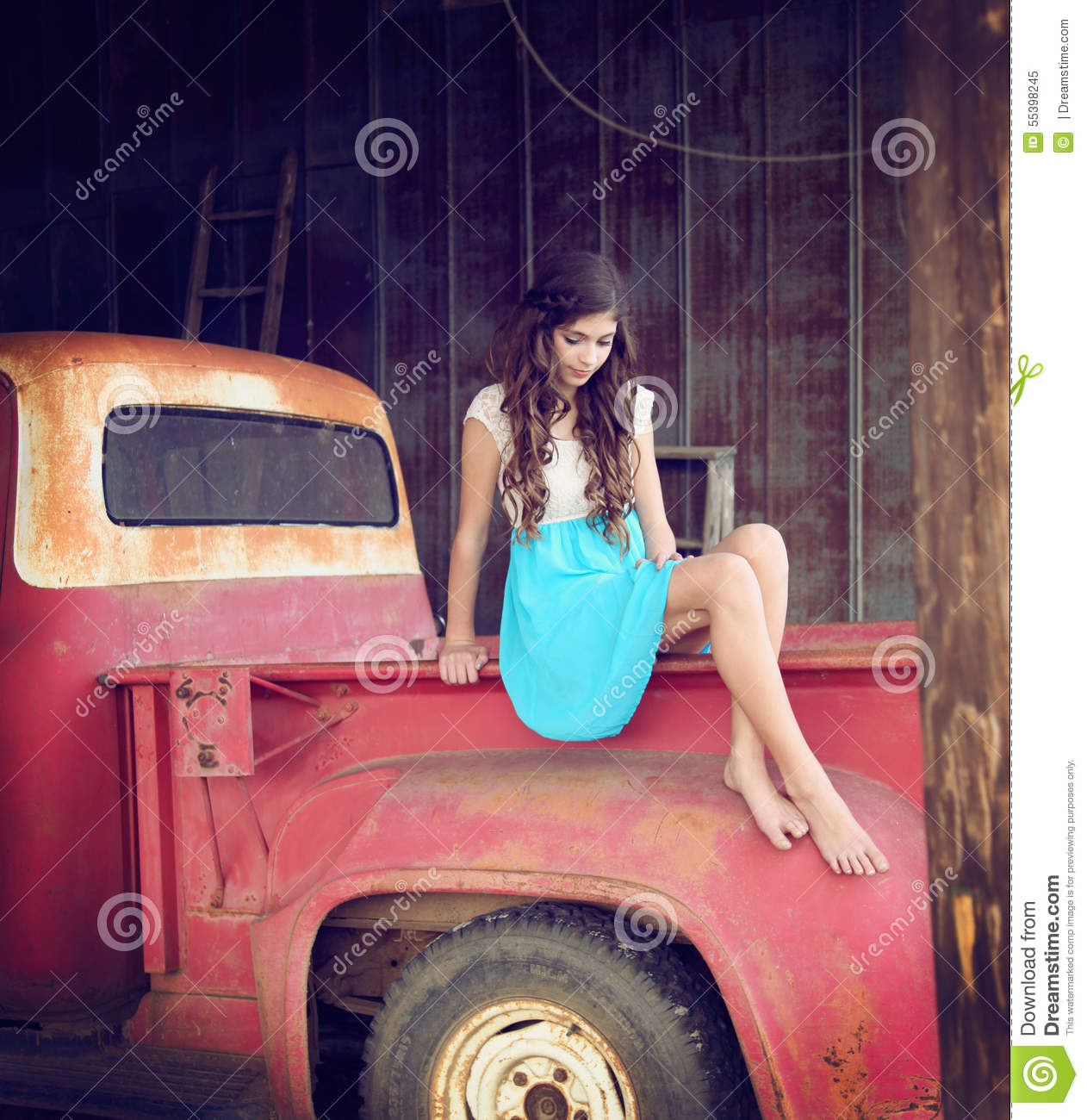 sexy girl and classic trucks