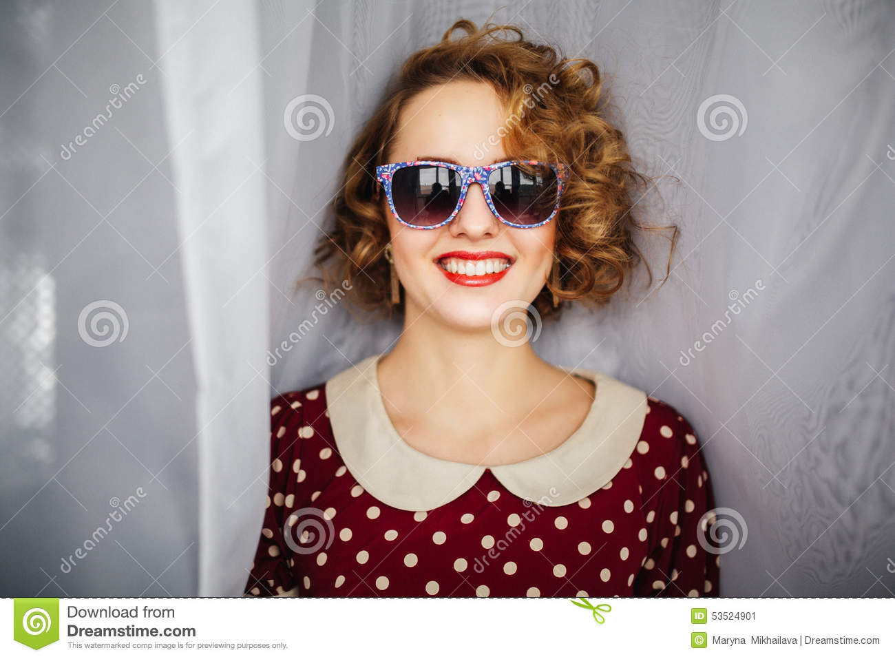 Girl With Curly Short Hair Red Lips In Retro Stock Image Image Of