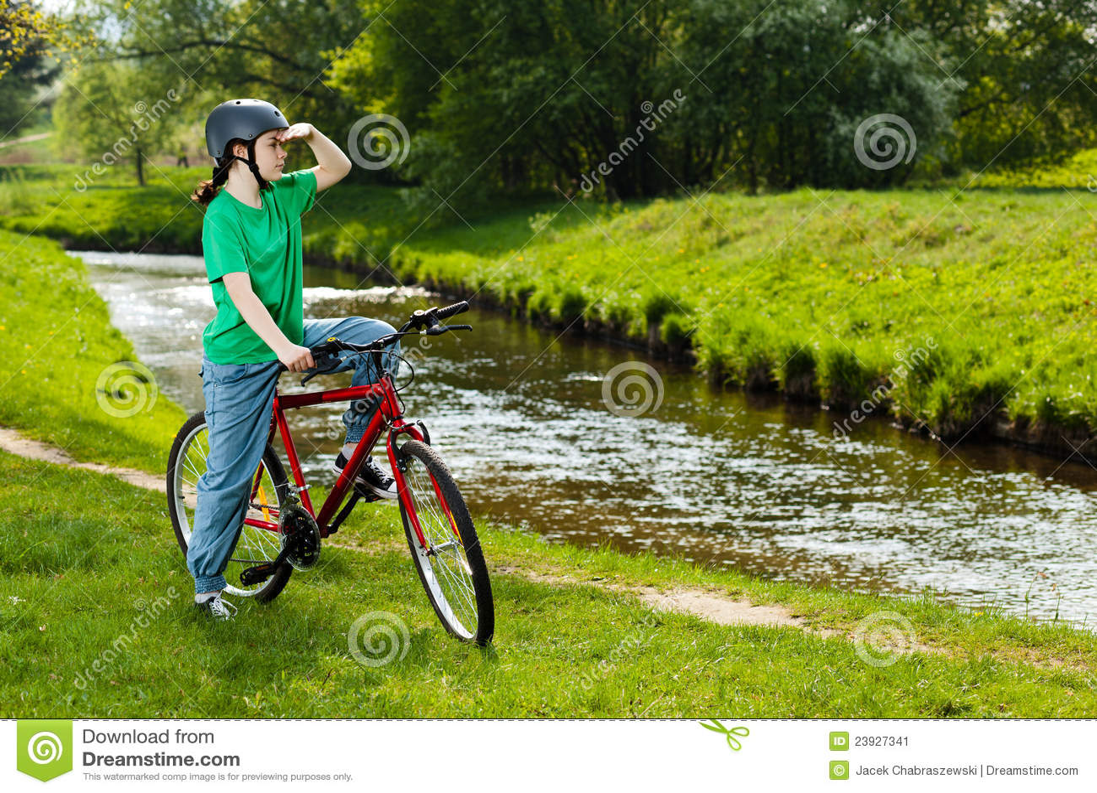 Girl Cycling Stock Image