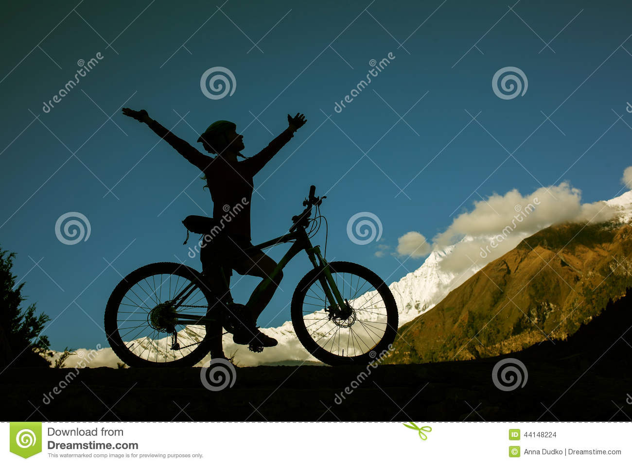 Download Girl cycling at the road stock photo. Image of road, annapurna - 44148224