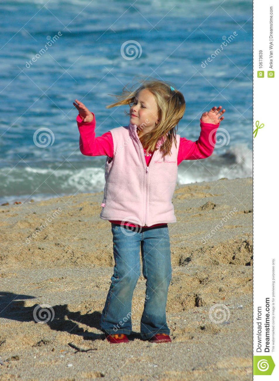 Girl dancing on beach