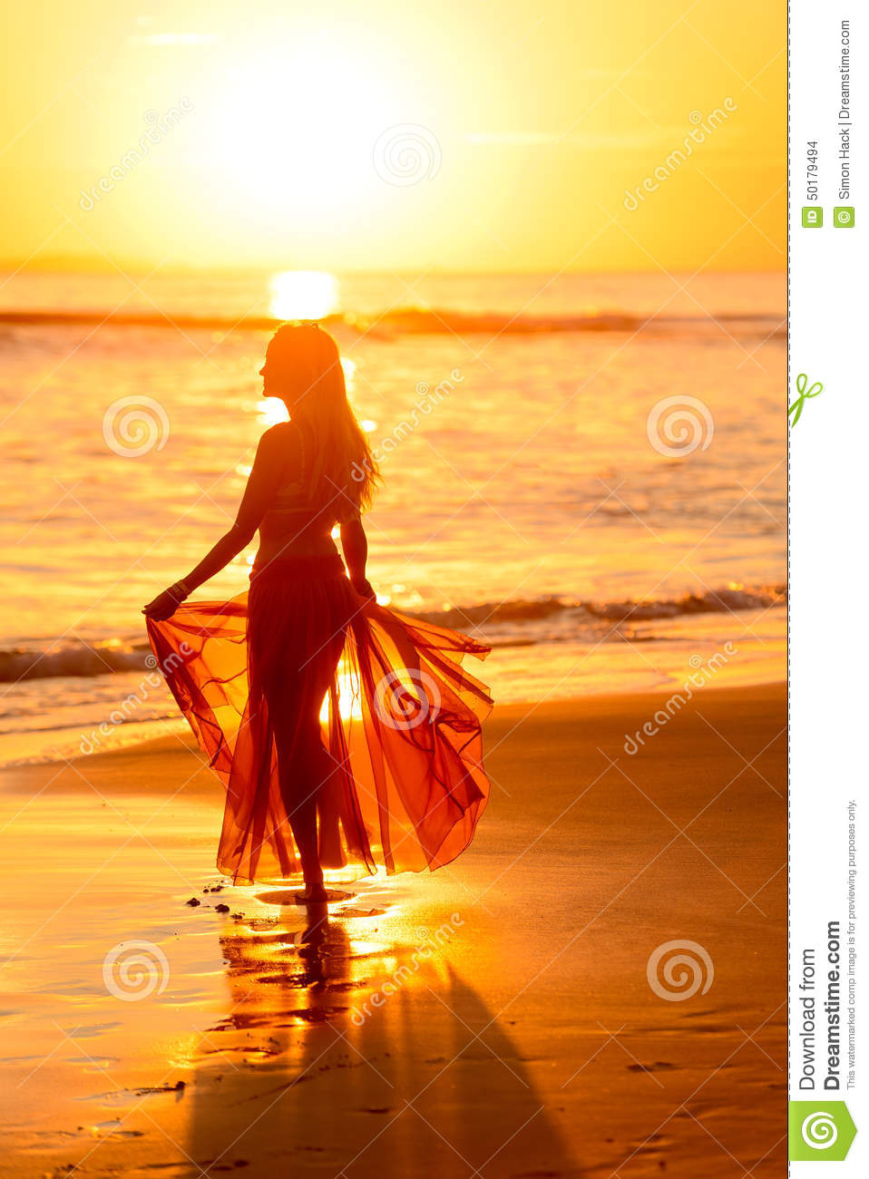 Girl Dancing On The Beach At Sunset,mexico 2 Stock Photo ...
