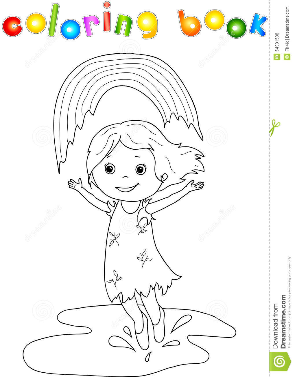 dancing in the rain coloring page in the with rainbow stock vector image 7655