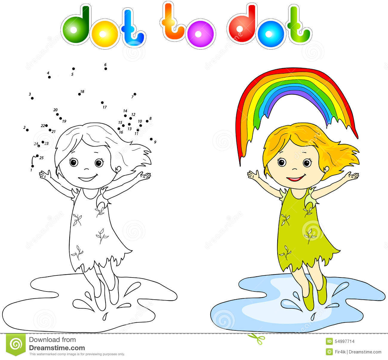 Girl Dancing With Rainbow Dot To Dot Stock Vector - Illustration of ...