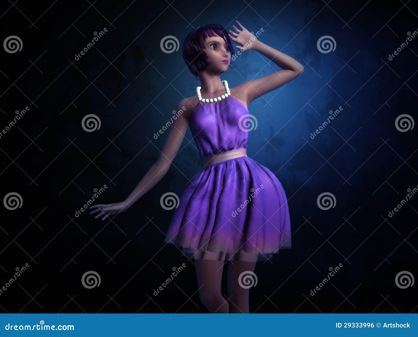 Girl In Dark Blue Room Stock Illustration Illustration Of