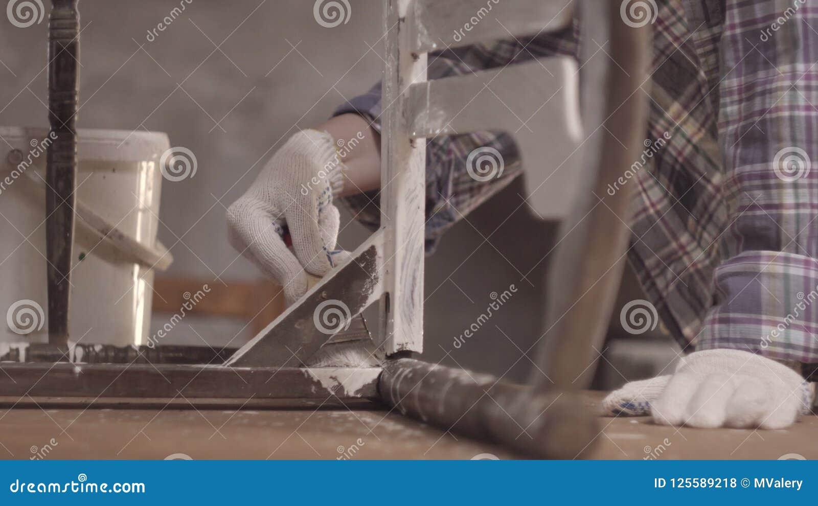 Girl Carpenter Designer Decorator Works In A Workshop On The