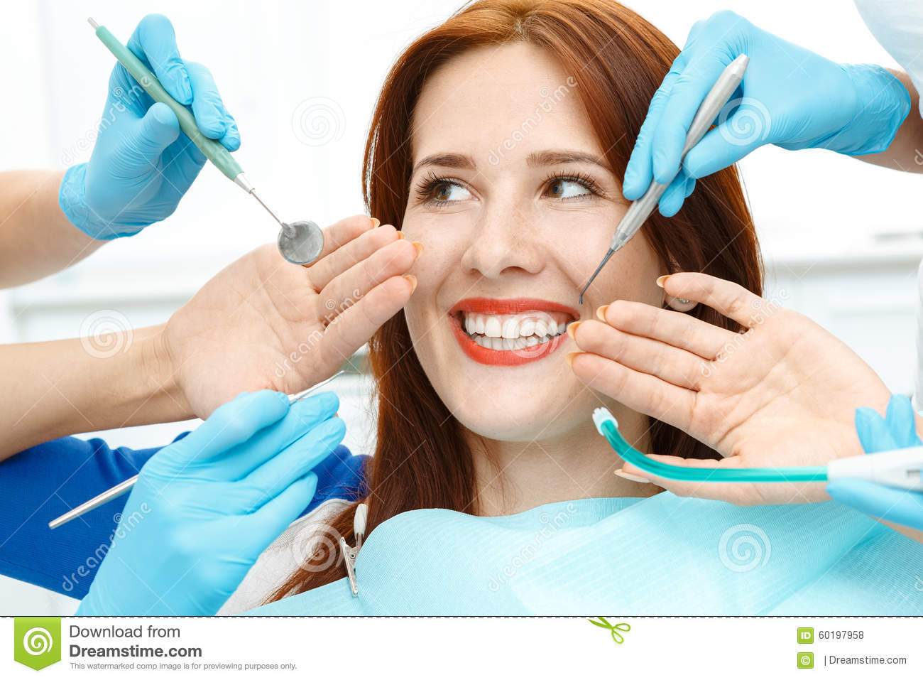 Girl in dentist chair showing the perfect smile stock photo image 60197958 - Garls perpact ...