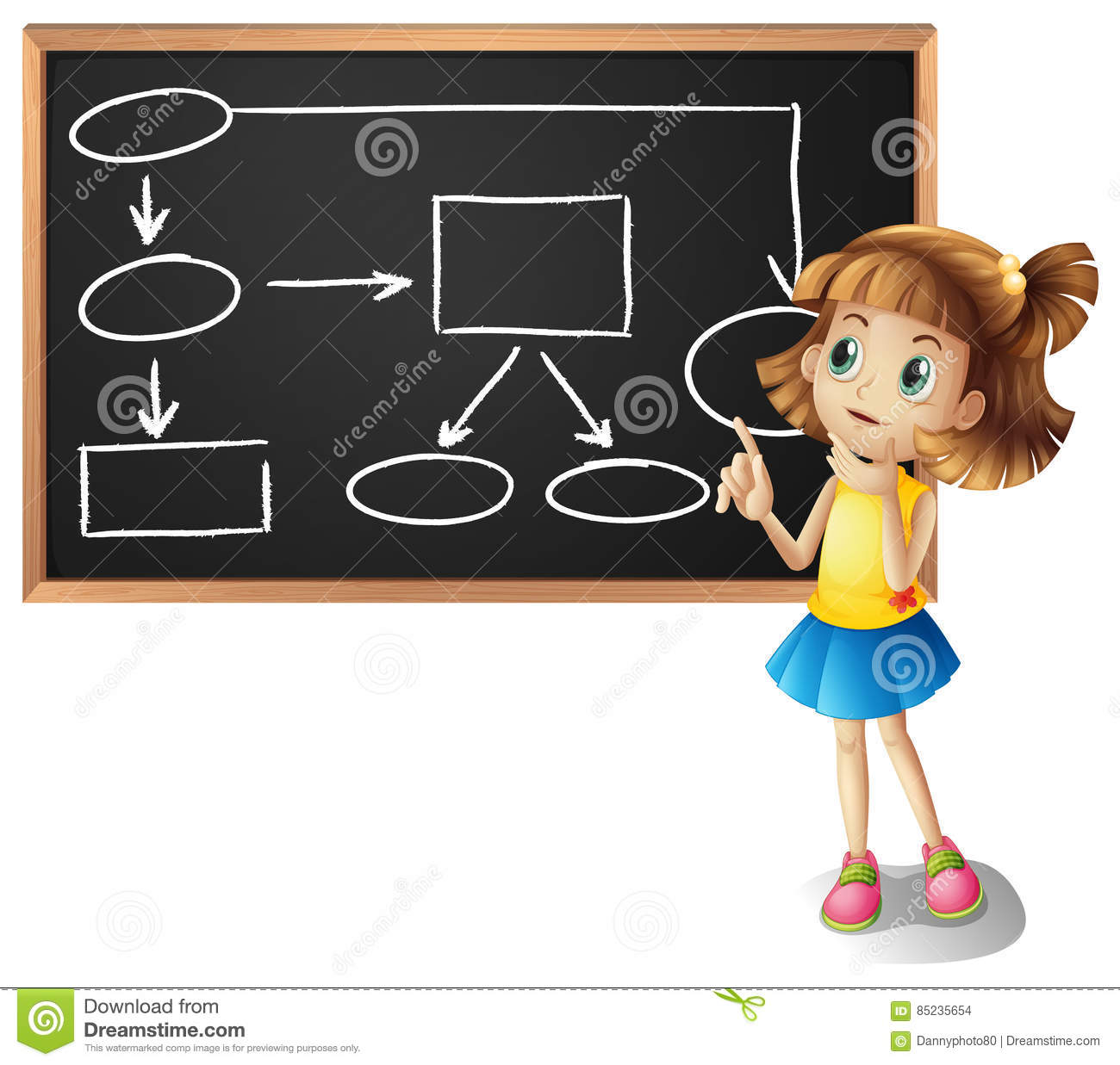 Girl and diagram showing flowchart on board