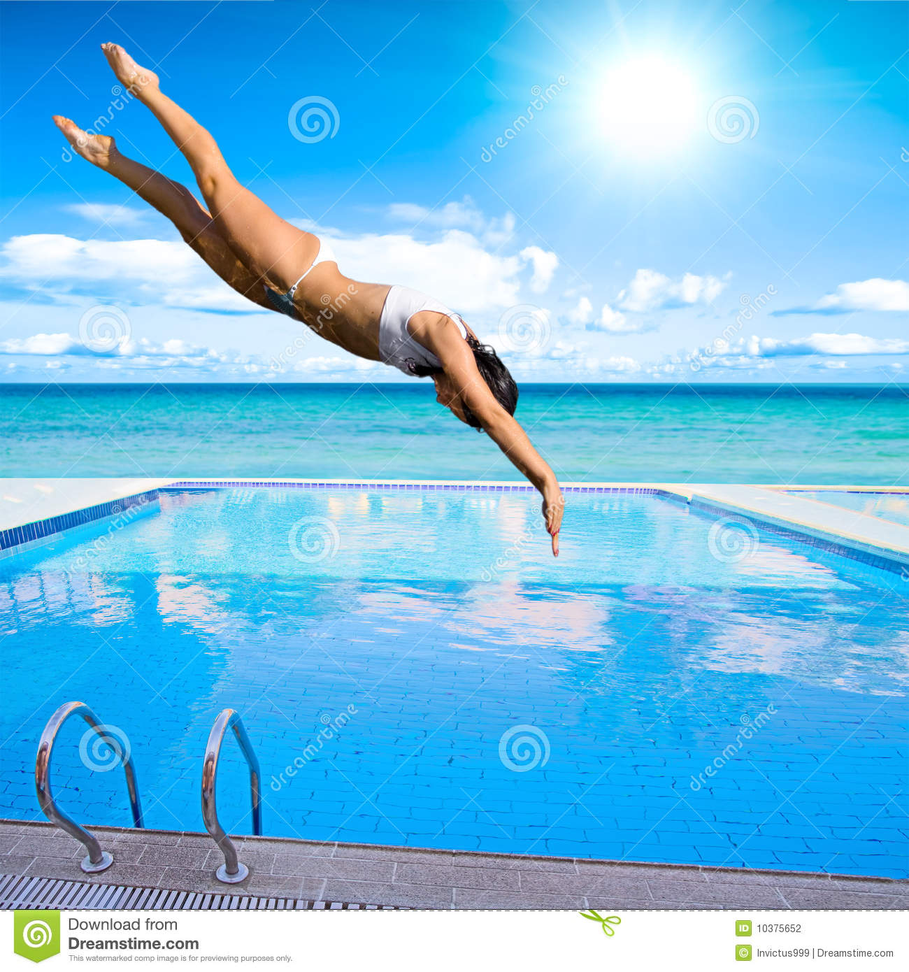 Girl Diving Into Pool Stock Photography Image 10375652