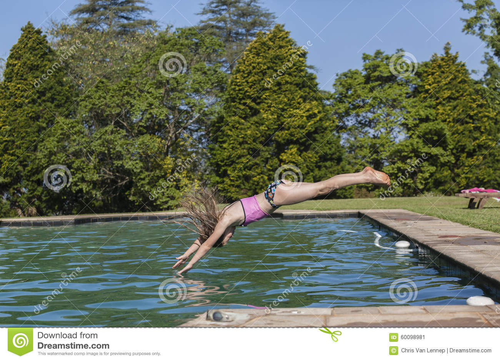 Girl Diving Pool Stock Image Image Of Pool Home Photo