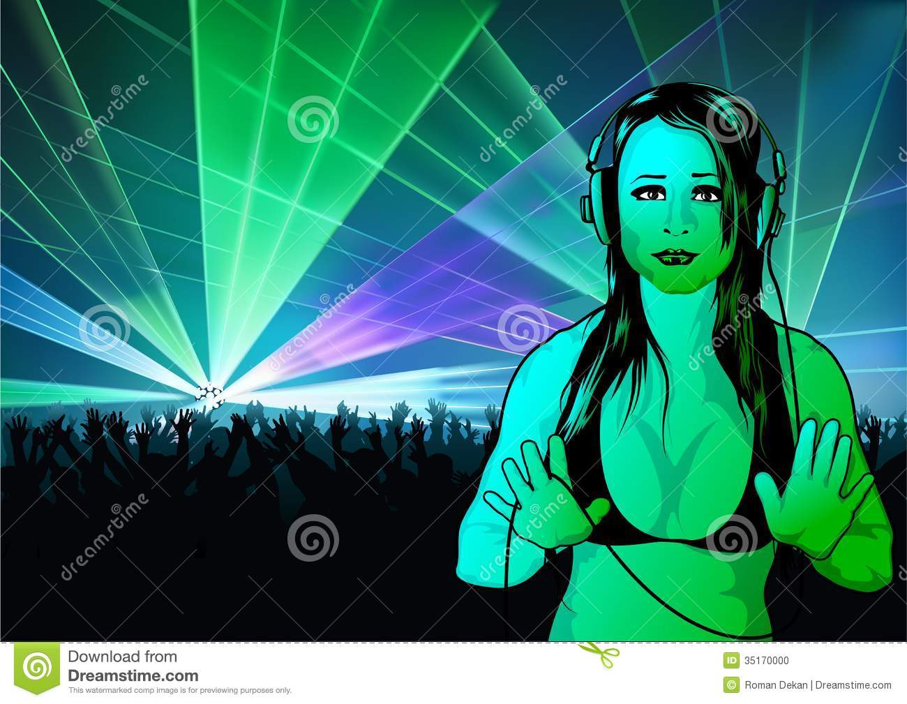 Girl Dj Wallpaper Stock Photo Image 35170000