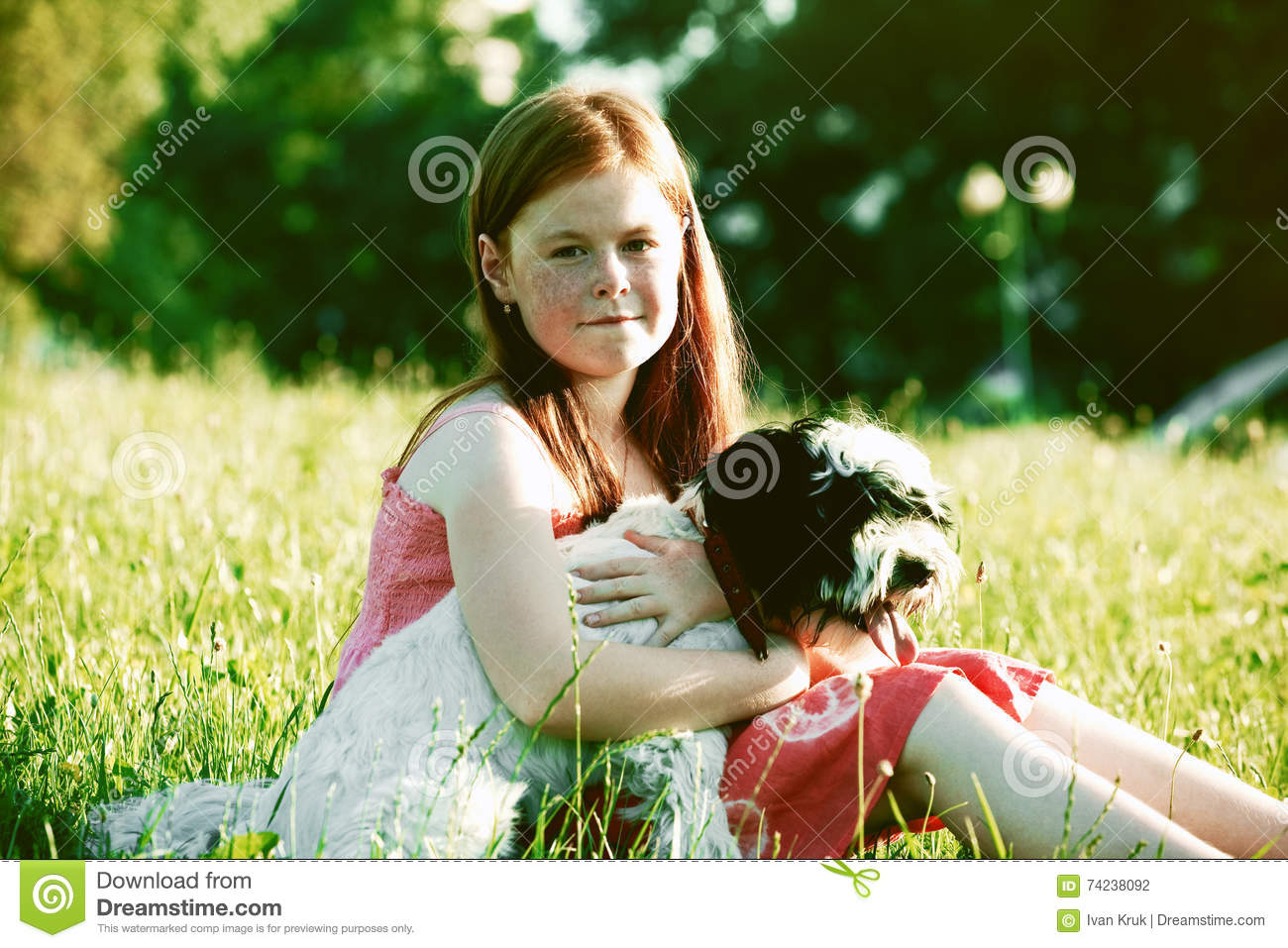 Girl with dog. Friendship concept