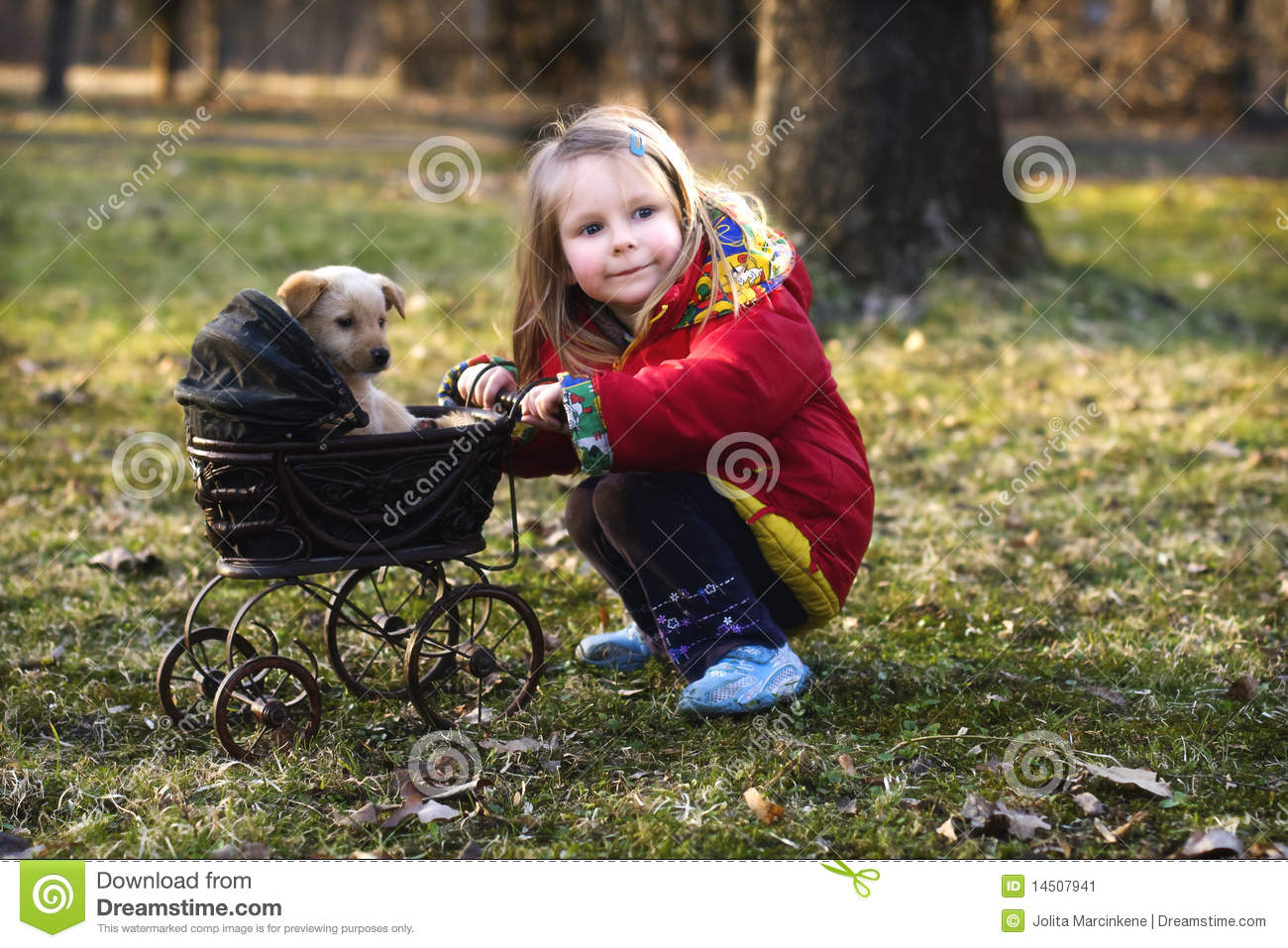 Download Girl with dog and pram stock image. Image of blond, doll - 14507941