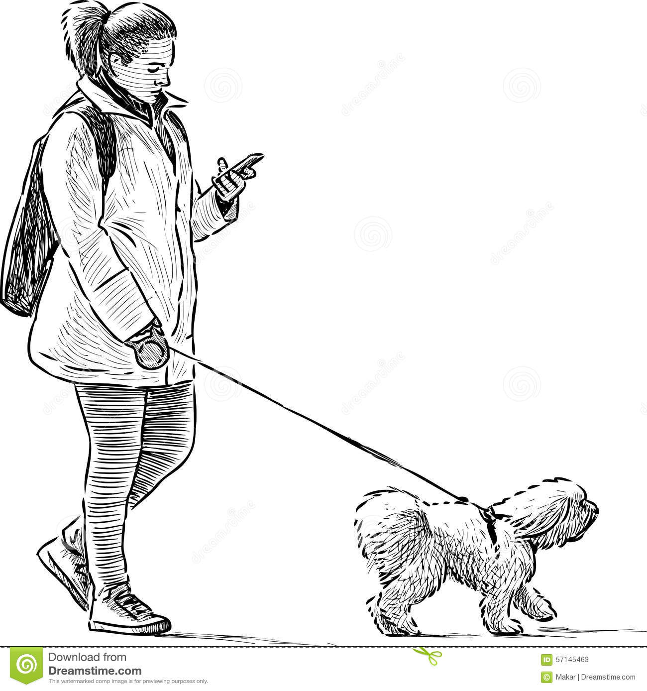 Walk Dogs Clipart Black And White