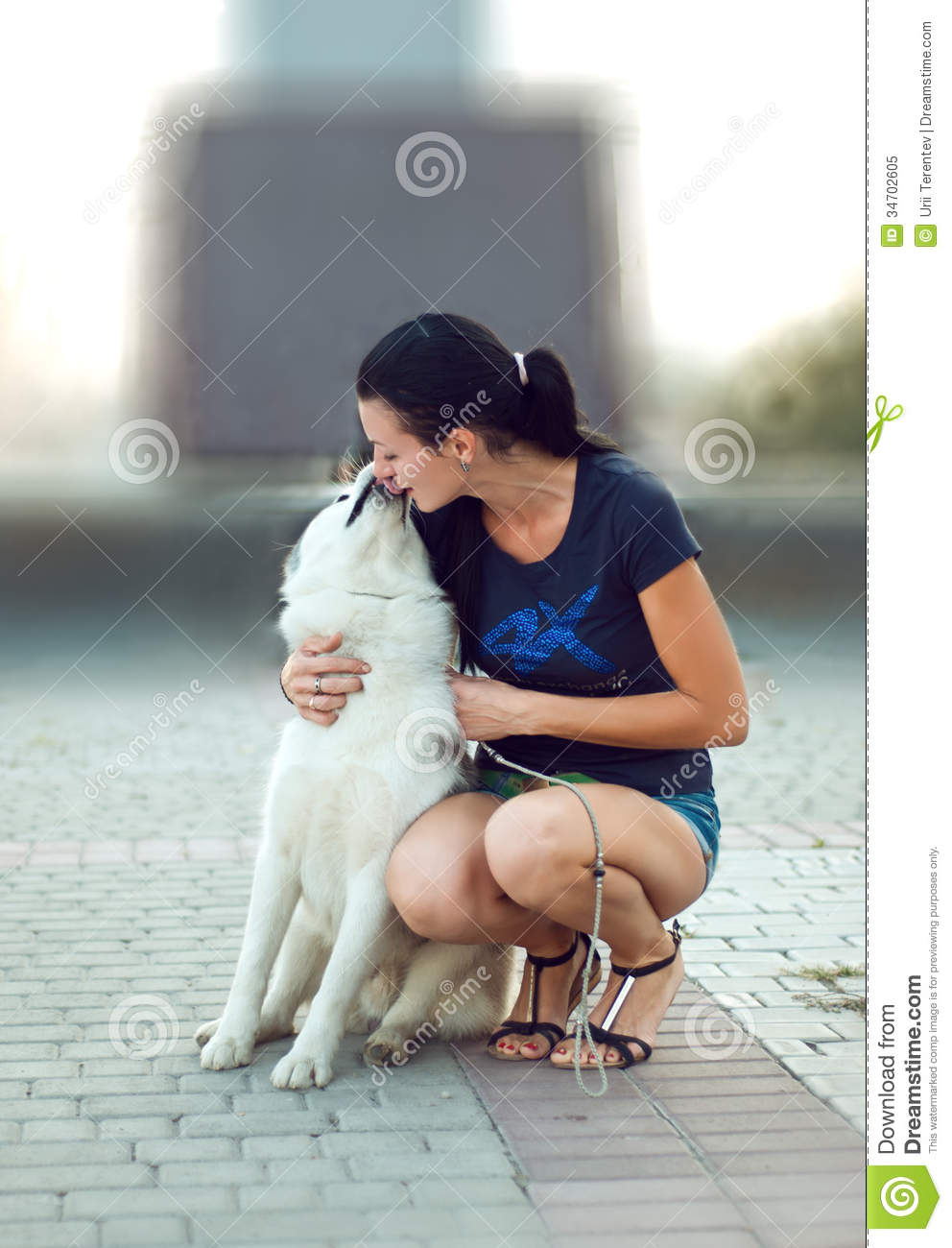 Girl with the dog for a walk