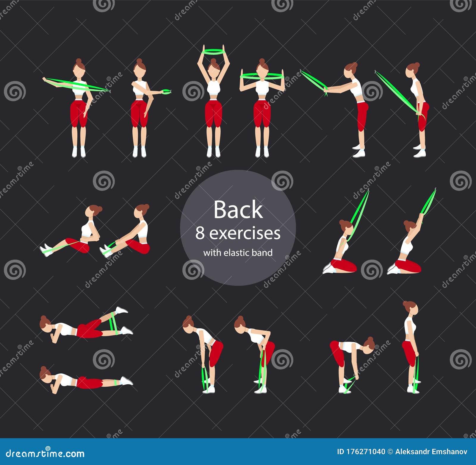 Back 8 Exercises With Elastic Band Stock Illustration
