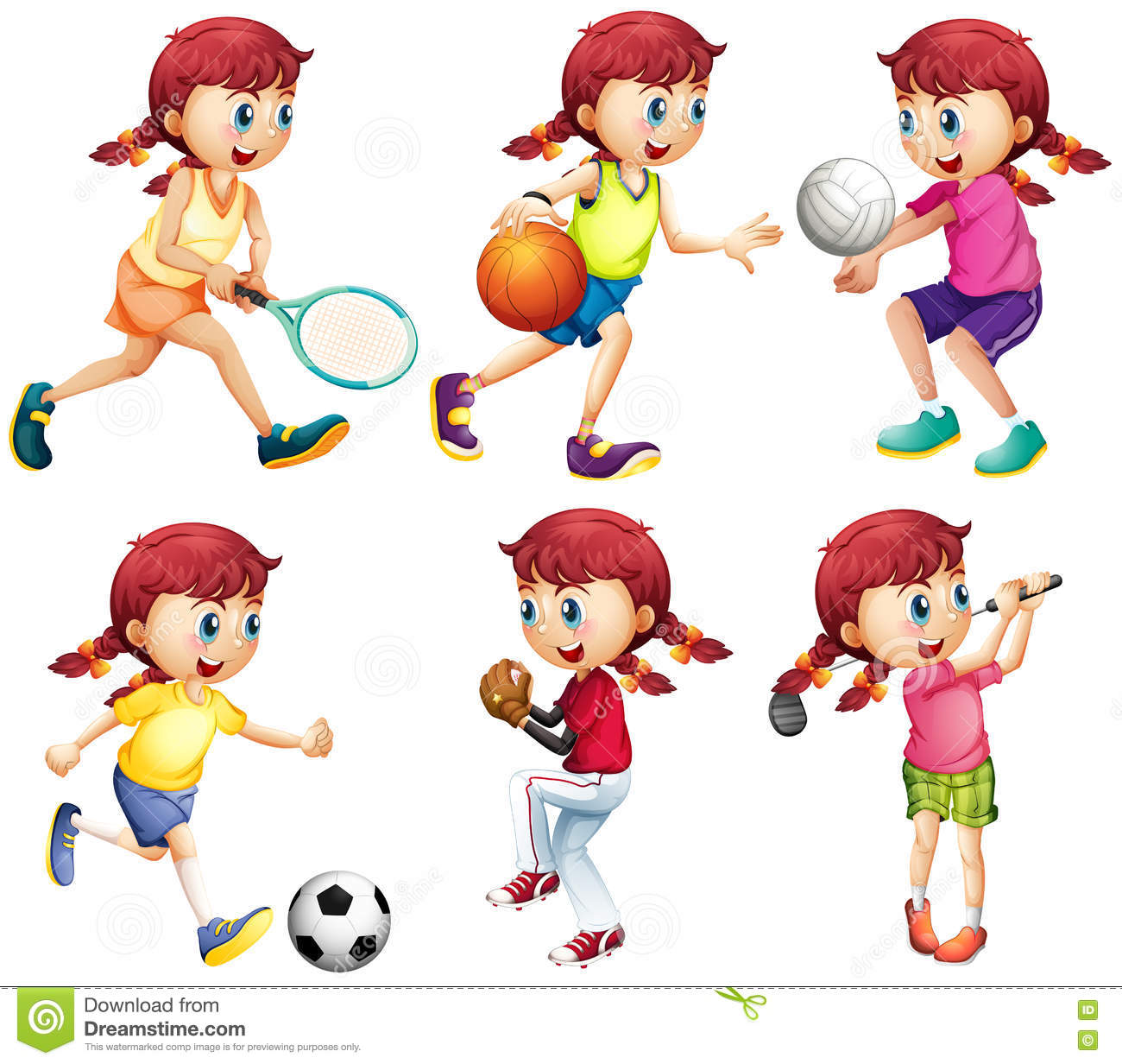 Girl Doing Different Type Of Sports Stock Vector ...