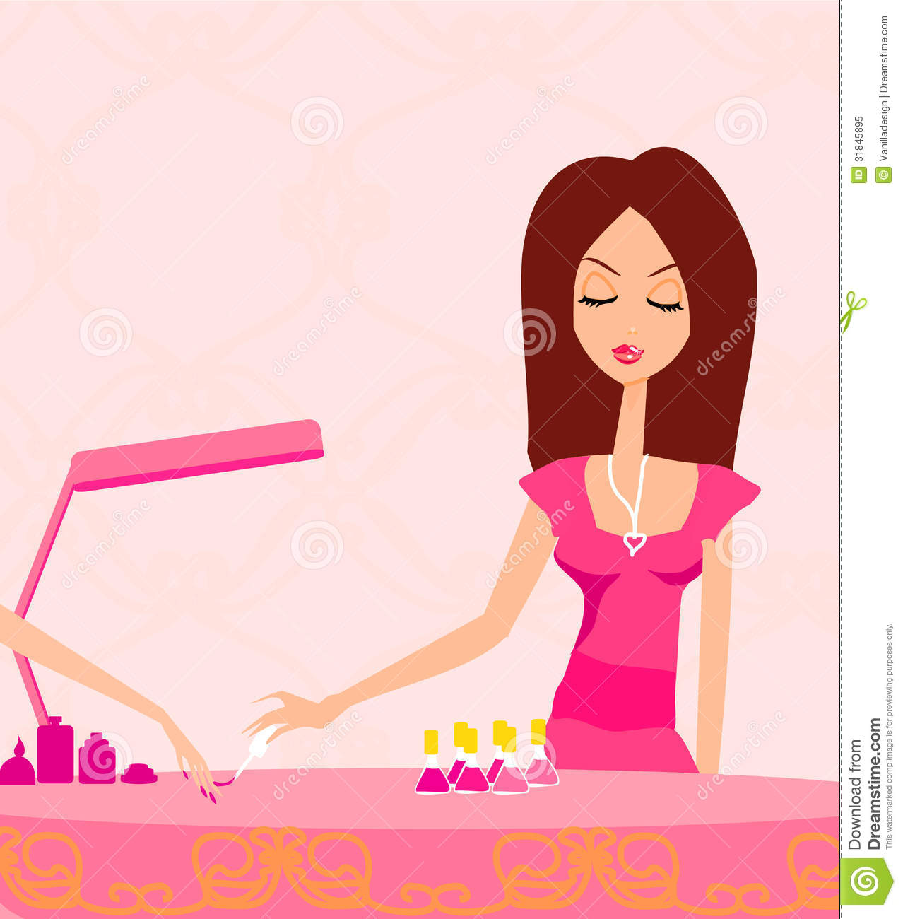 Girl Doing Manicure In Beauty Salon Royalty Free Stock