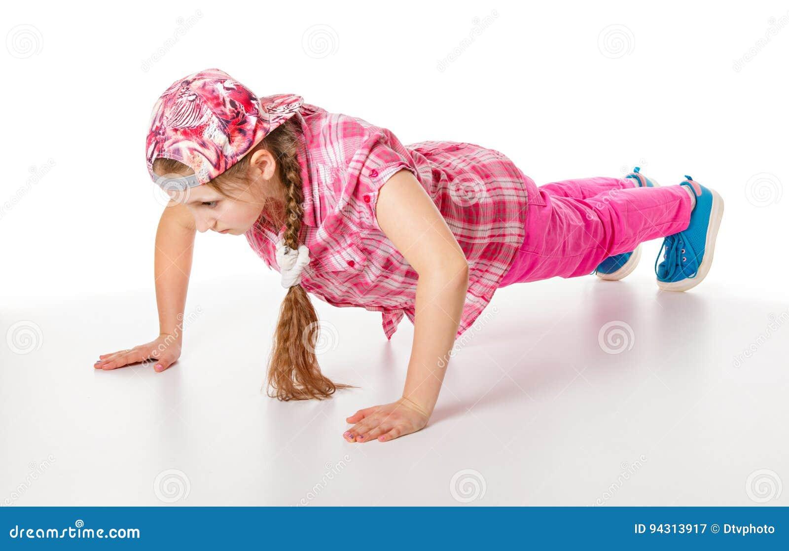 Girl doing push-ups