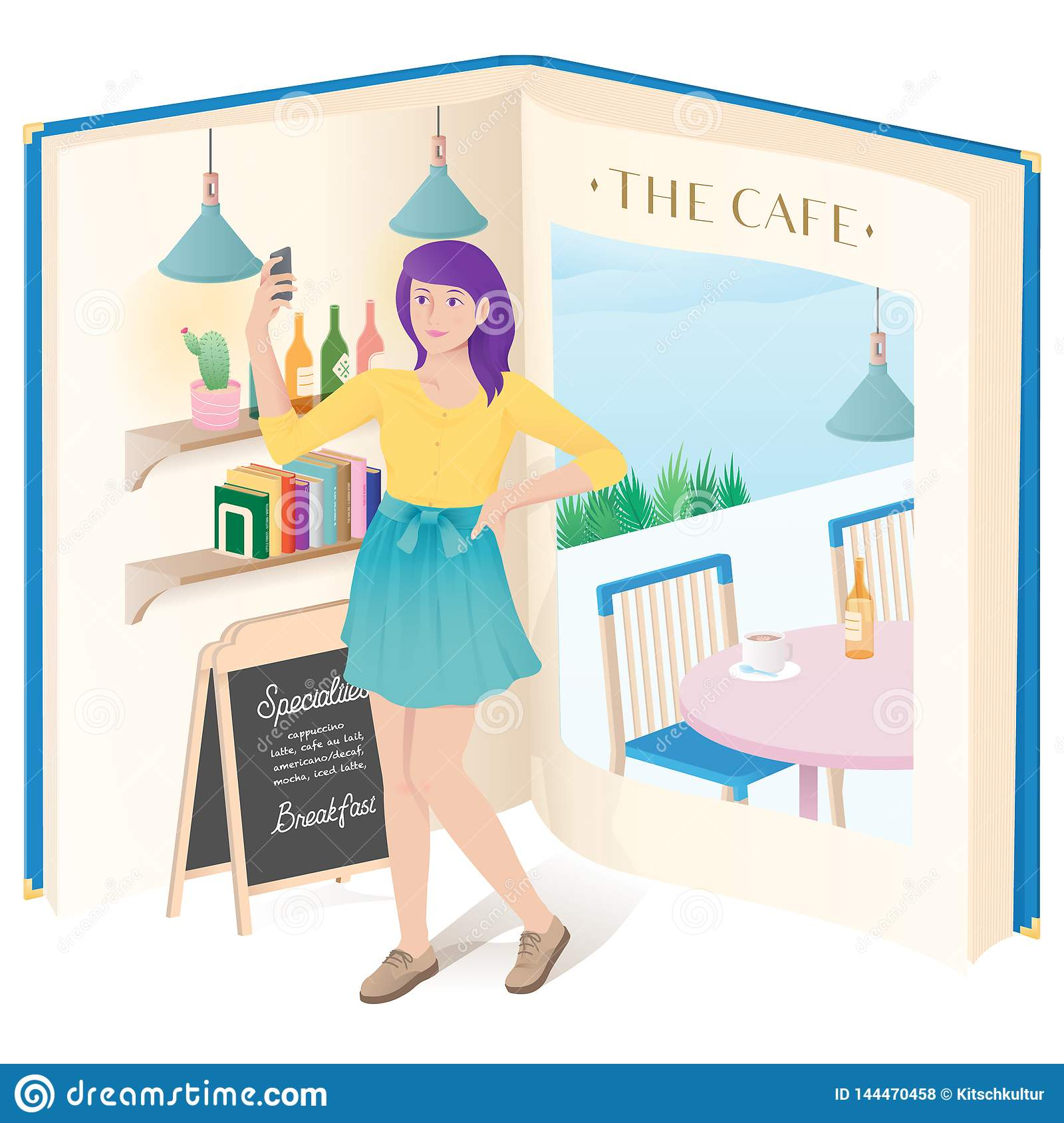 A girl doing selfie in the cafe