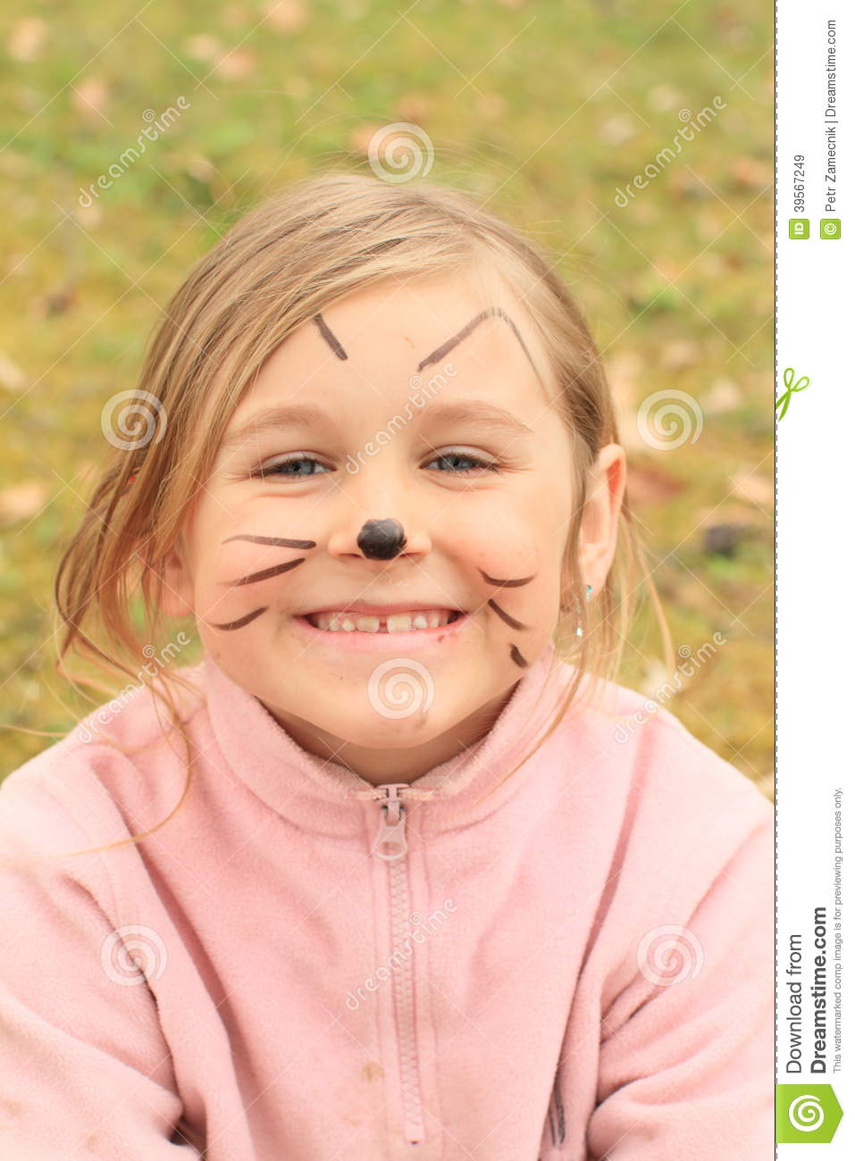 Girl Drawen As A Cat Stock Image Image Of Smiling Playful 39567249