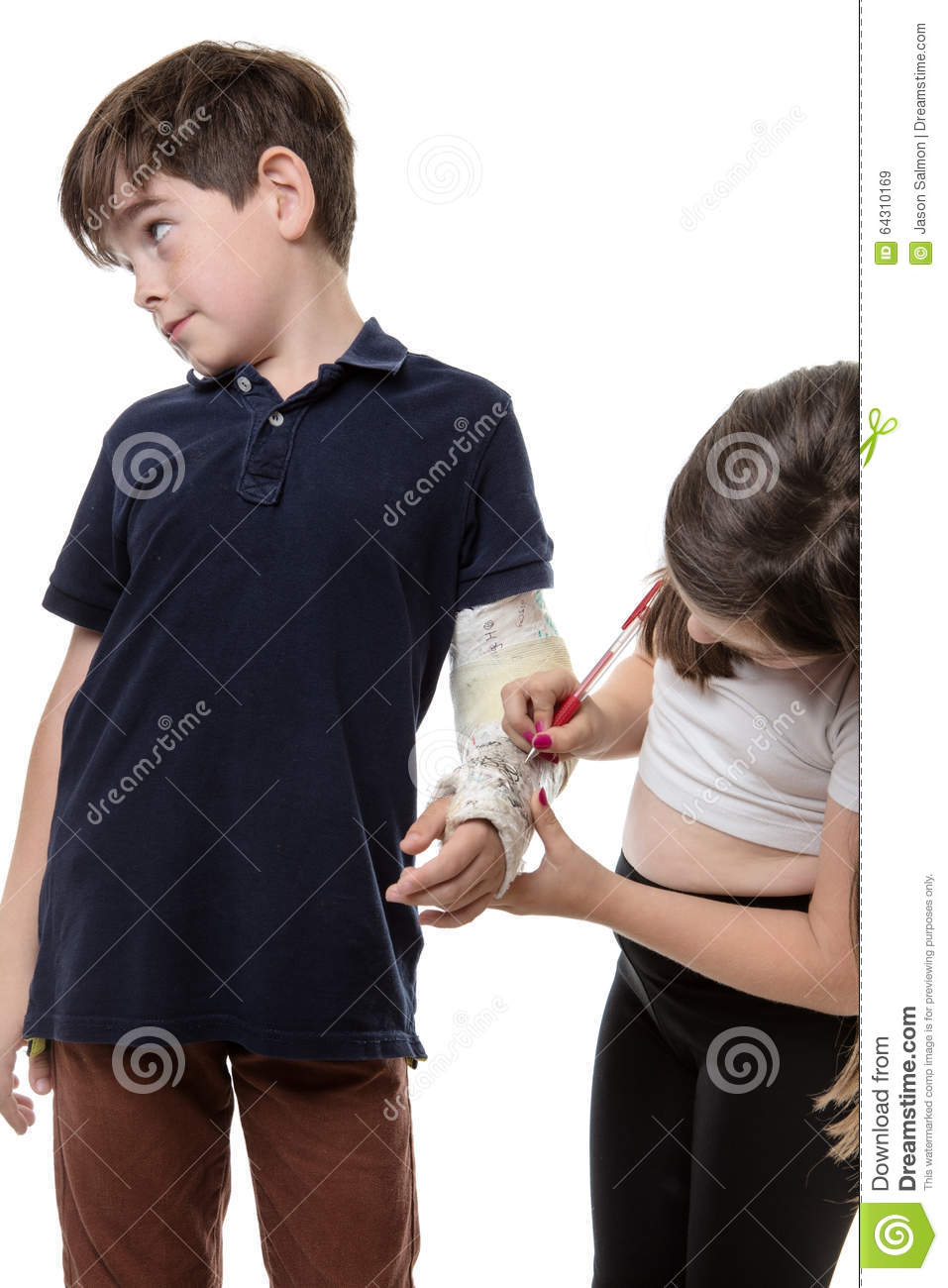 Girl Drawing On Her Friend's Plaster Cast  Stock Image - Image of