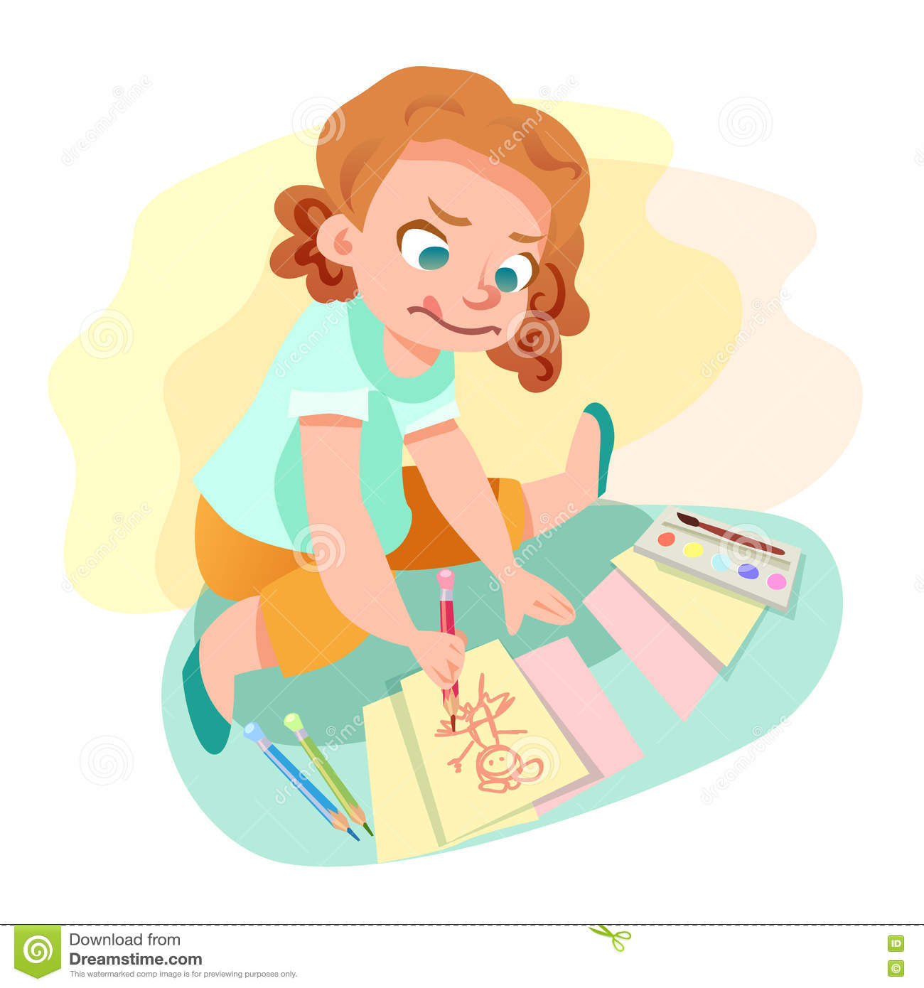 Girl Drawing On Paper Illustration Stock Vector - Illustration of ...