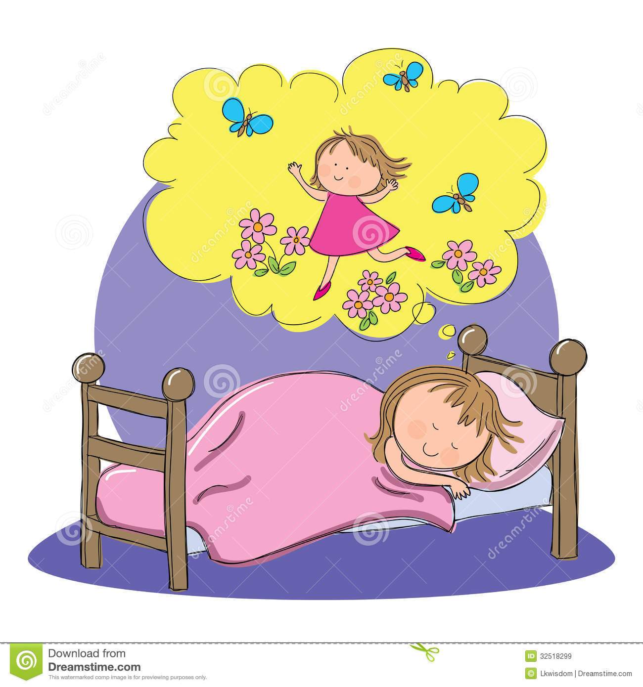 Hand drawn picture of child dreaming happy thoughts, illustrated in a ...