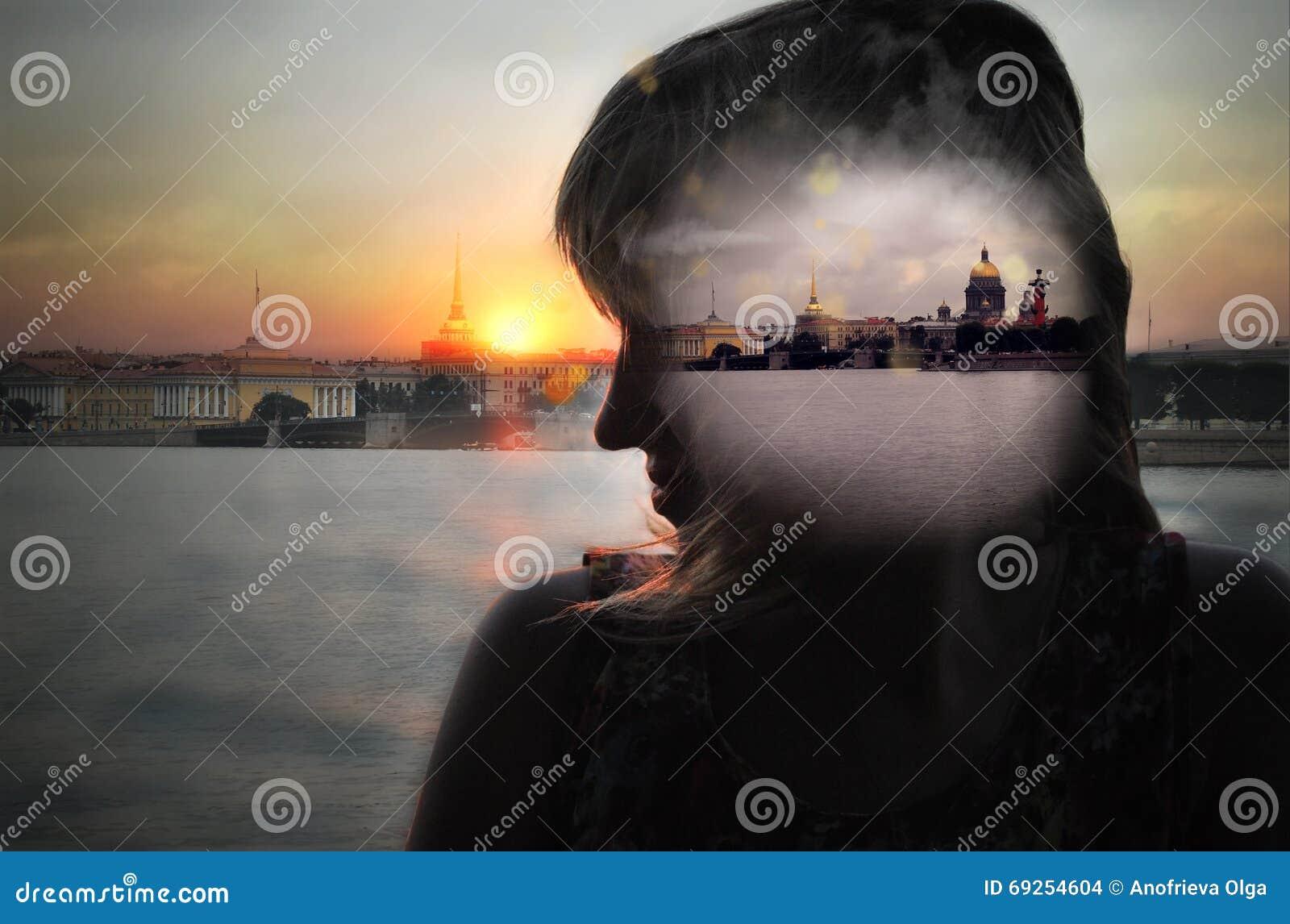 Girl dreams of St.-Petersburg