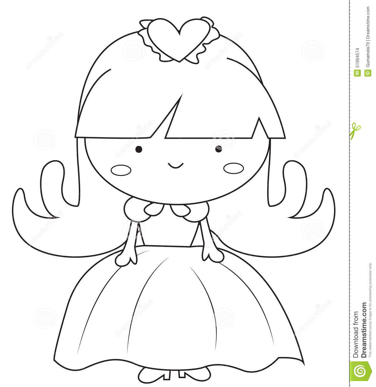 in a dress coloring page stock illustration image 51089083