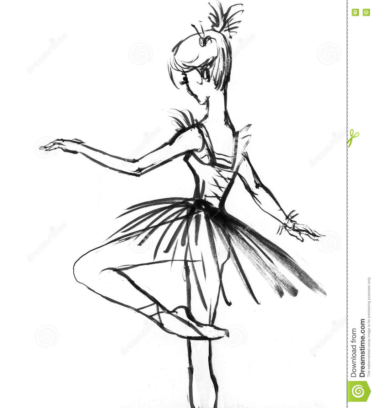 White dress drawing - Girl In A Dress Drawing In Black And White Ballerina