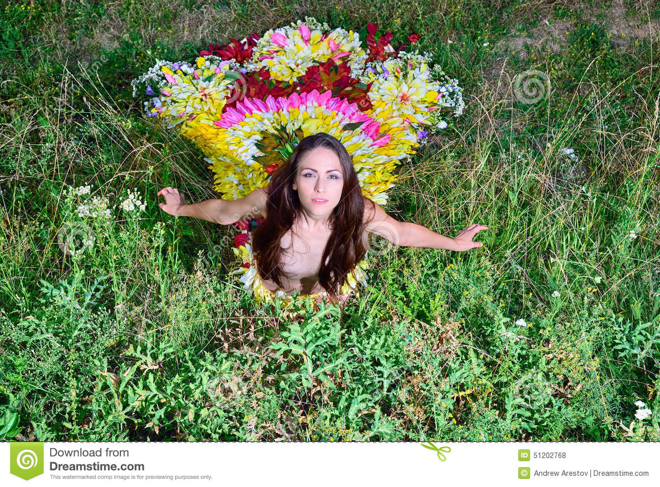 Girl In The Dress Of The Firebird Of Flowers Stock Photo ...