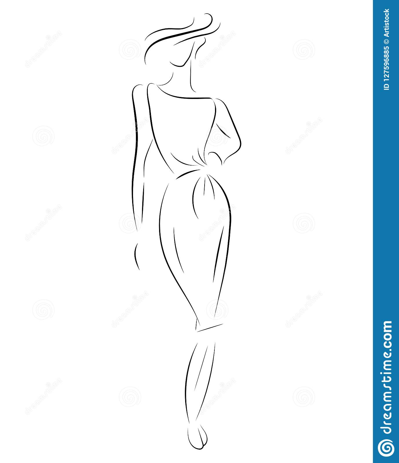 Girl in a dress linear outlines of a female figure in a dress silhouette of a model in clothes linear art of a slender woman