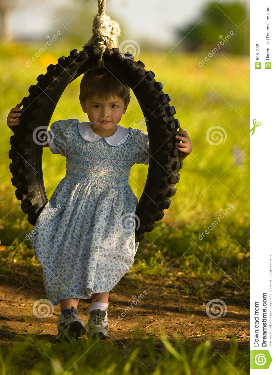 Girl In Dress And Old Fashioned Swing Royalty Free Stock Image ...