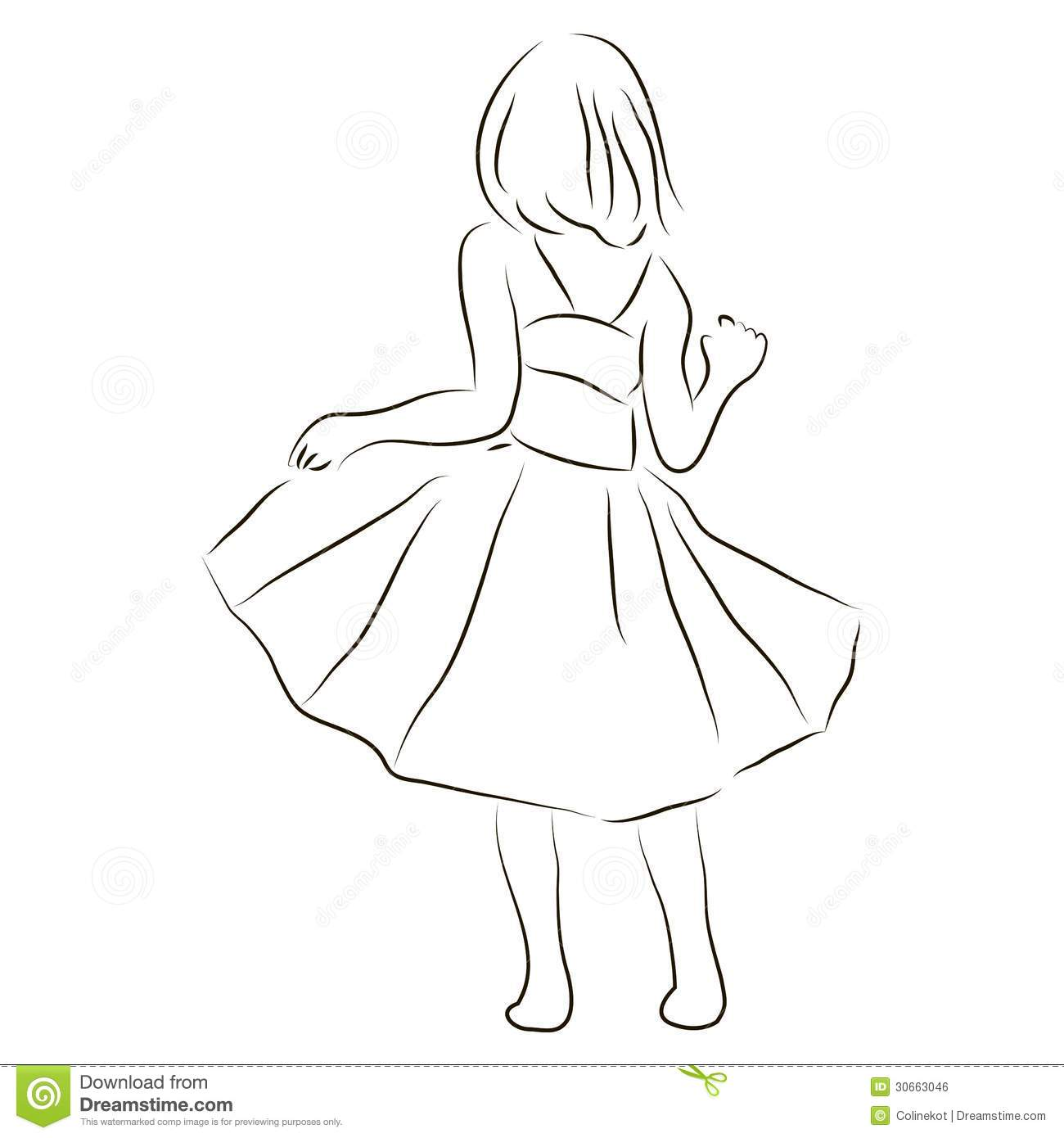 Designing A Garden Girl In A Dress Royalty Free Stock Image Image 30663046