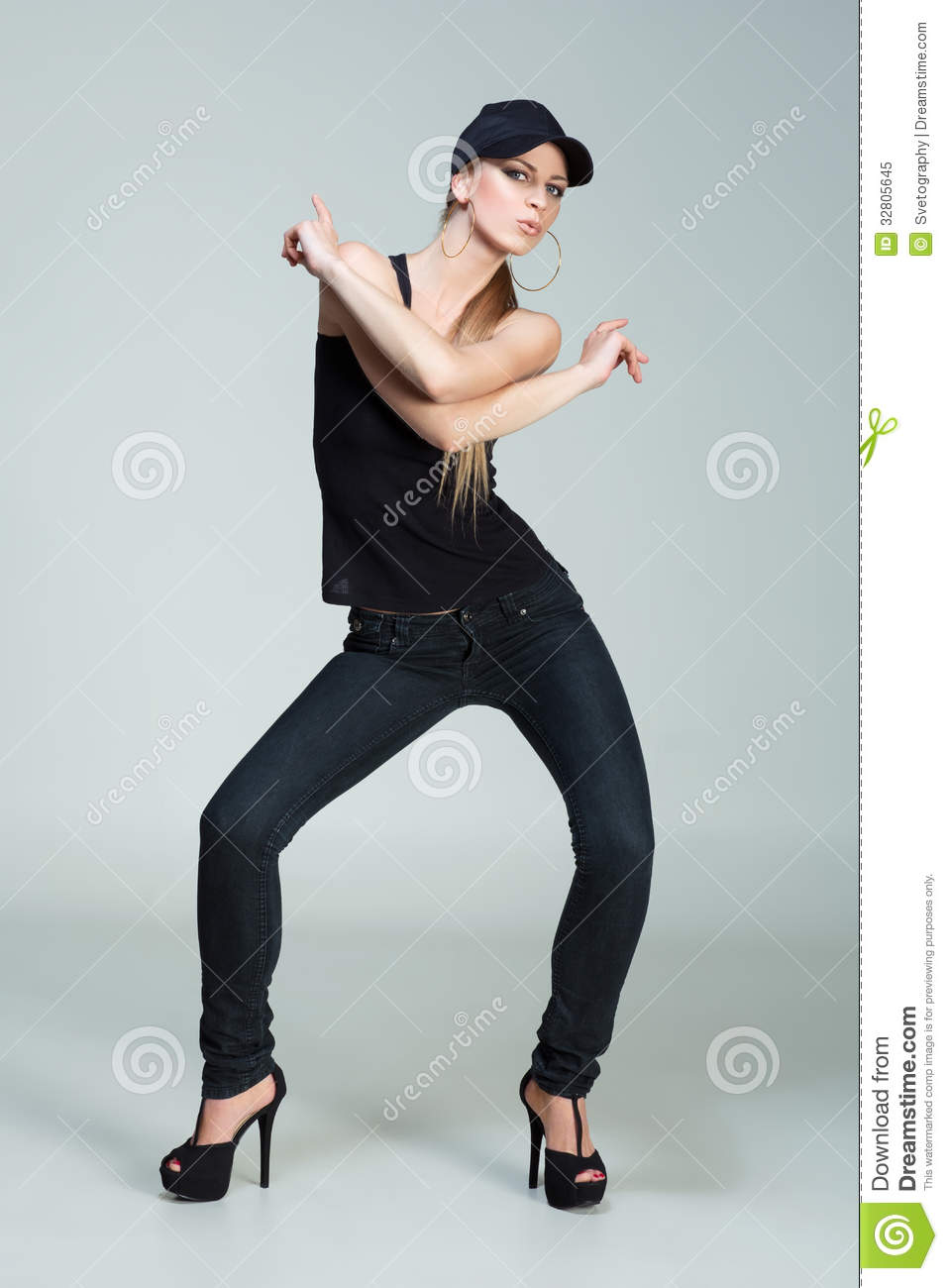 Girl Dressed In Hip-Hop Style Stock Image - Image Of Black -8493