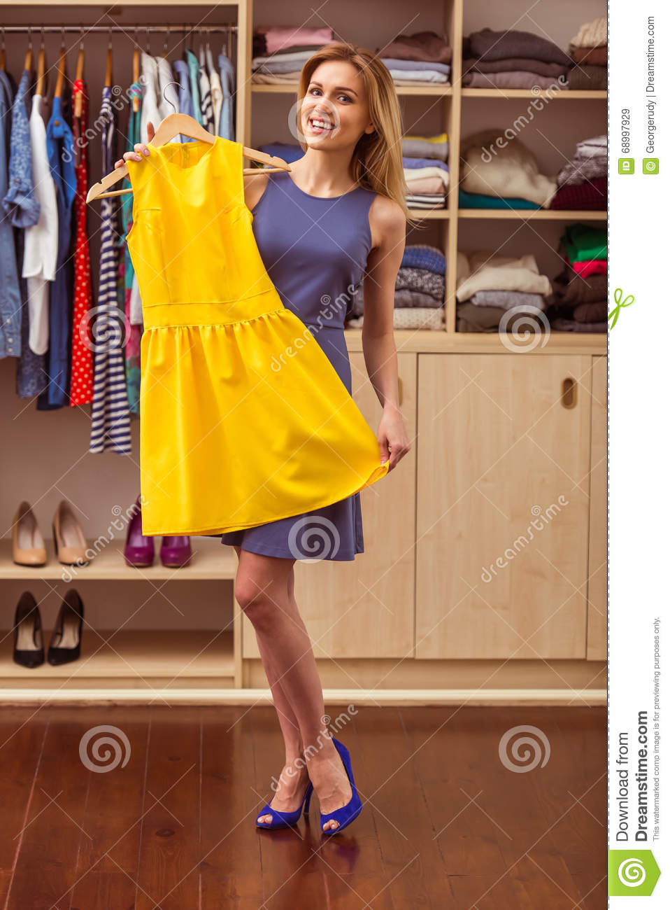 Girl in a dressing room stock image. Image of happy, fashion - 68997929