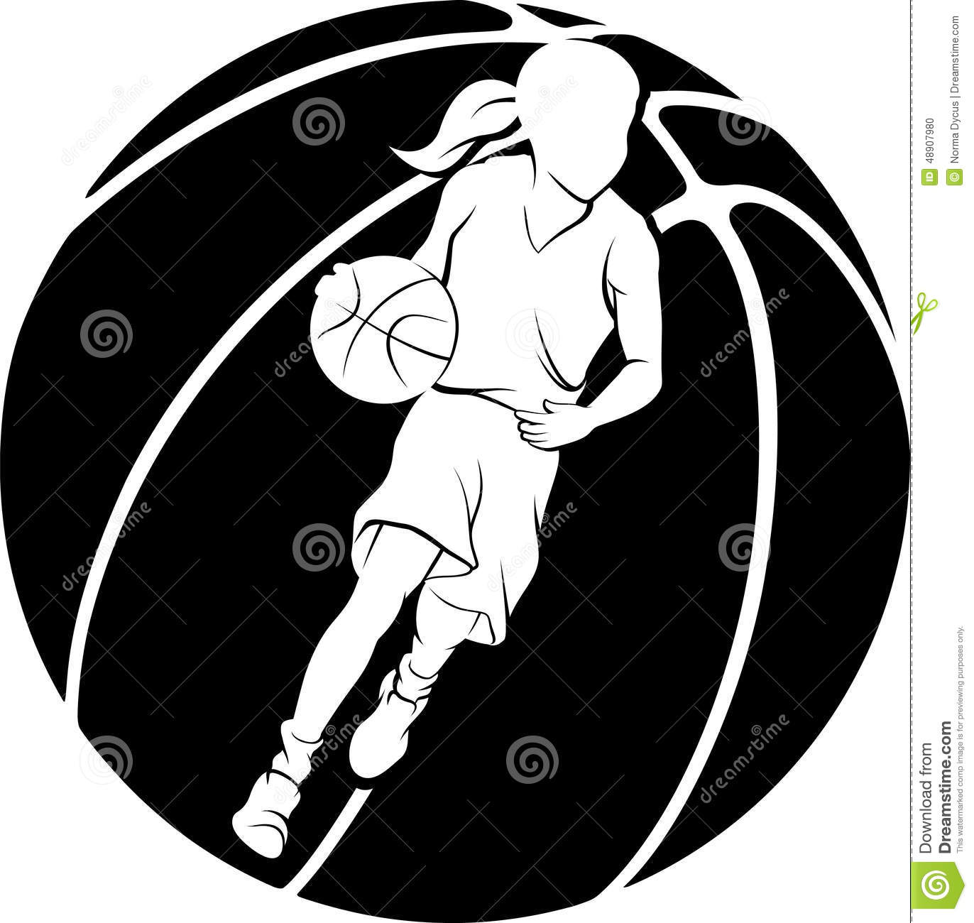 White silhouette of girl dribbling a basketball inside a basketball  silhouette. 520f6ce20f
