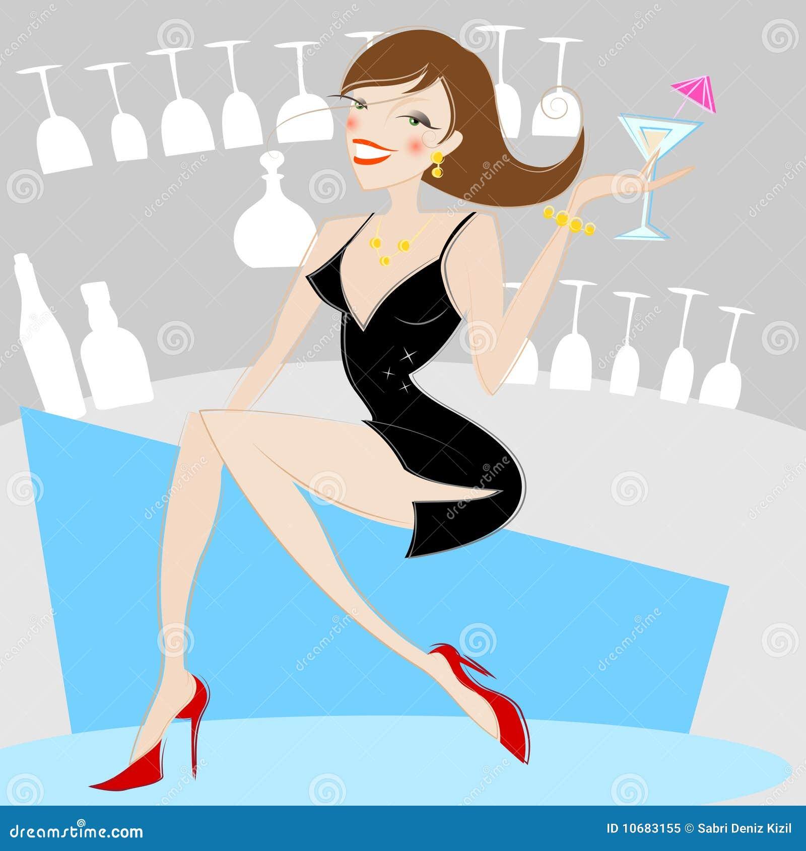 girl drinking alcohol stock vector illustration of